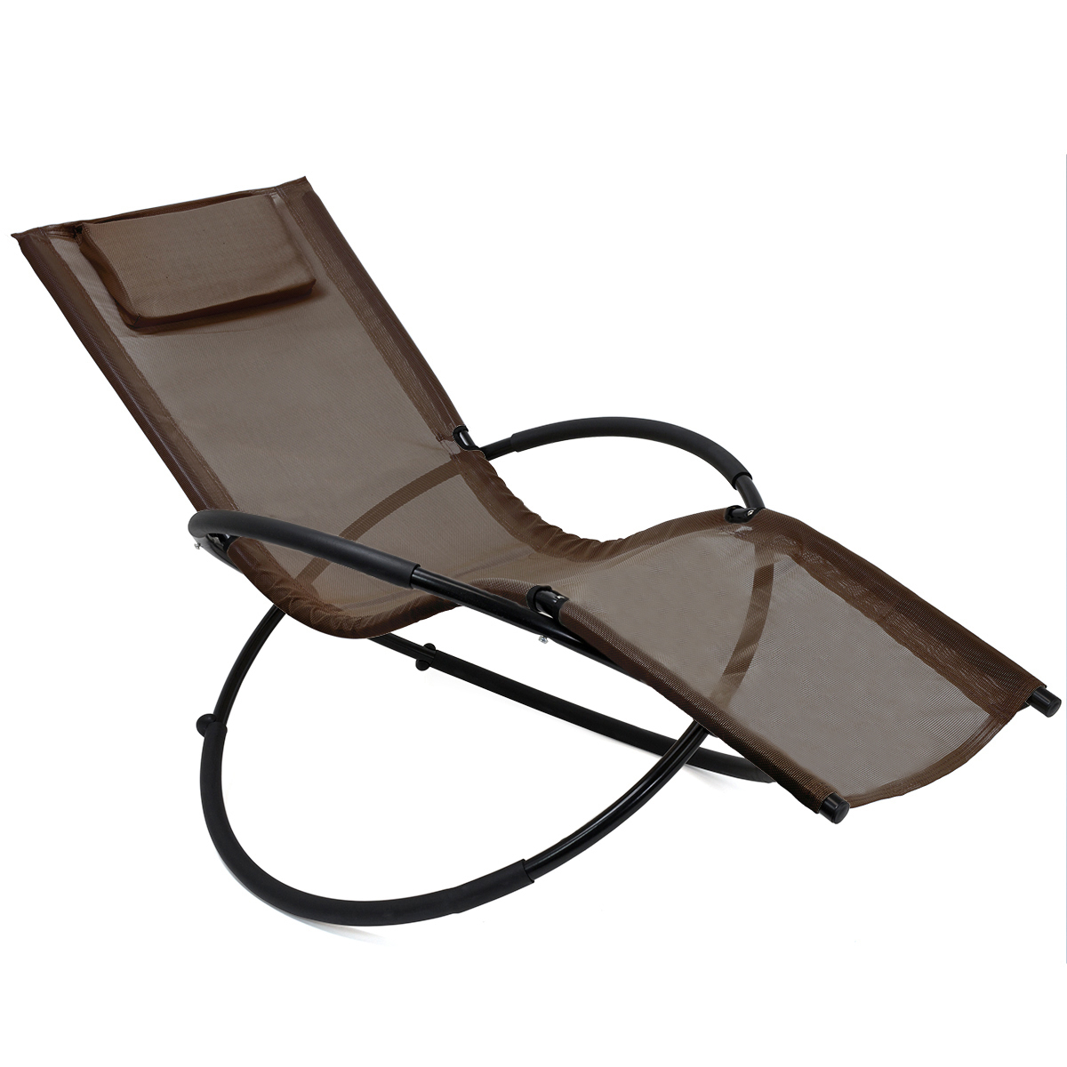Orbital Patio Lounger Rocking Chairs Pertaining To Newest Details About Folding Orbit Zero Gravity Chair Patio Garden Lounger Rocking  Outdoor, Brown (View 14 of 25)