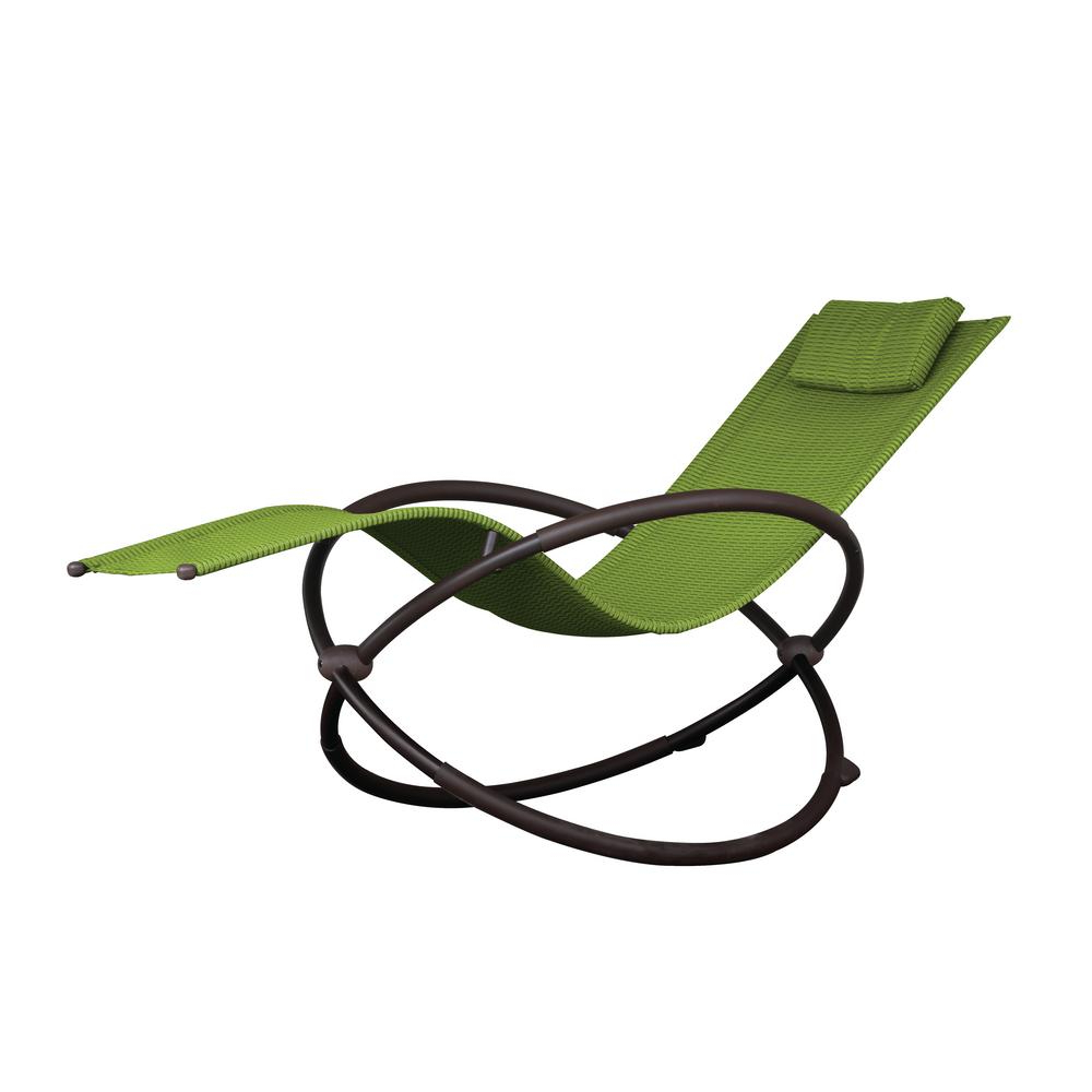 Orbital Patio Lounger Rocking Chairs Throughout Preferred Vivere Orbital Charcoal Steel Frame Outdoor Acrylic Mesh Lounge Chair In Green (Gallery 17 of 25)