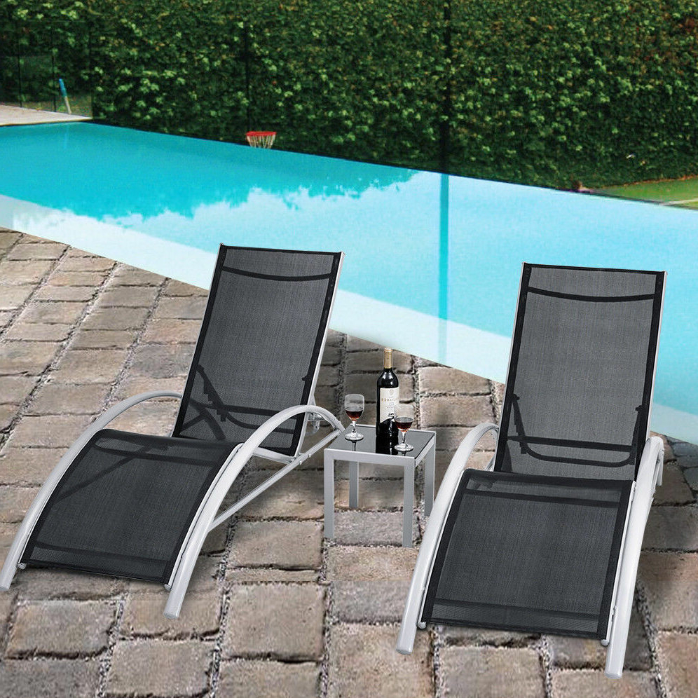 Orren Ellis Jose 3 Piece Outdoor Patio Pool Lounger Inside Newest Outdoor 3 Piece Chaise Lounger Sets With Table (View 9 of 25)