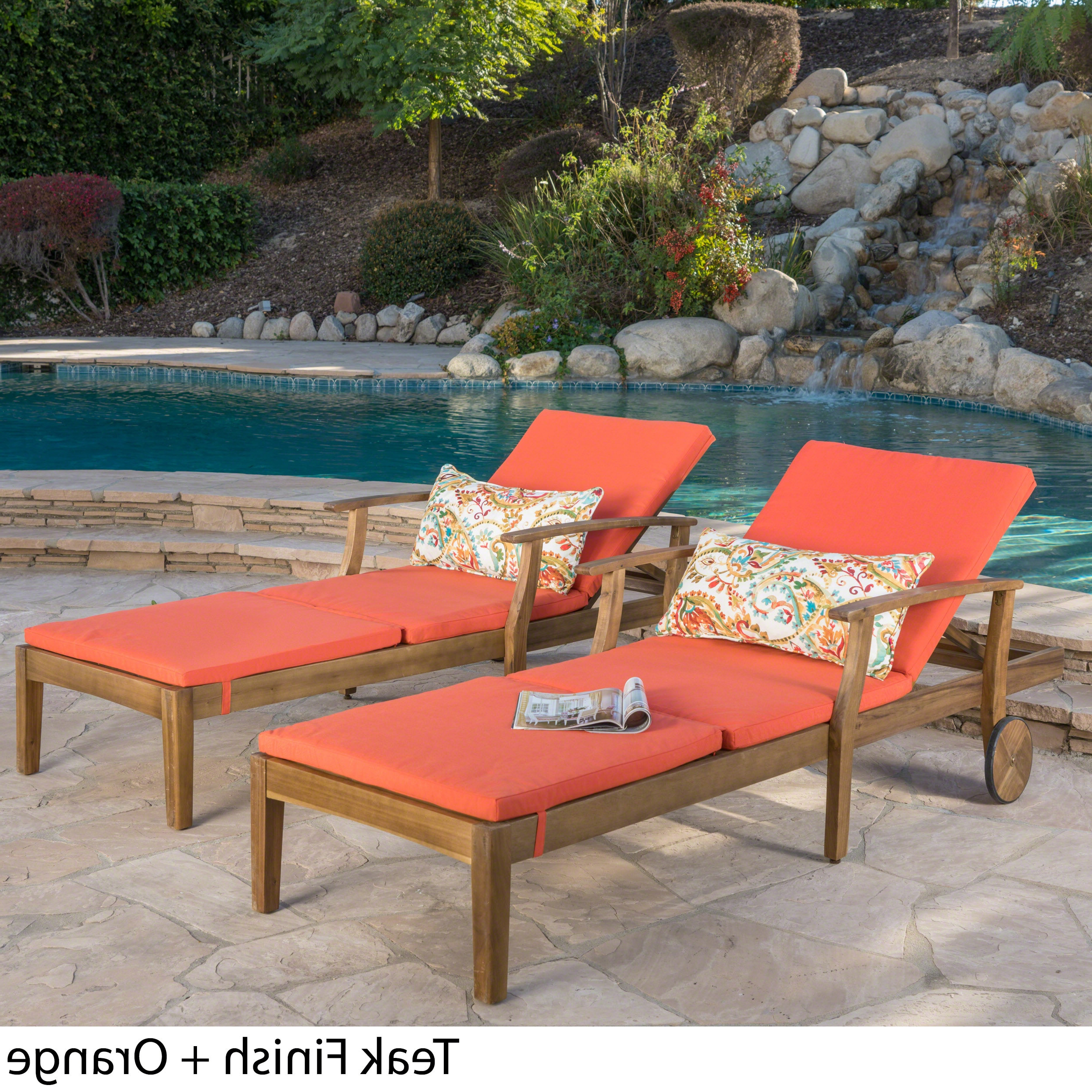 Oudoor Modern Acacia Wood Chaise Lounges With Cushion Throughout Best And Newest Christopher Knight Home Perla Outdoor Acacia Wood Chaise Lounge With Cushion (set Of 2) By (Gallery 6 of 25)