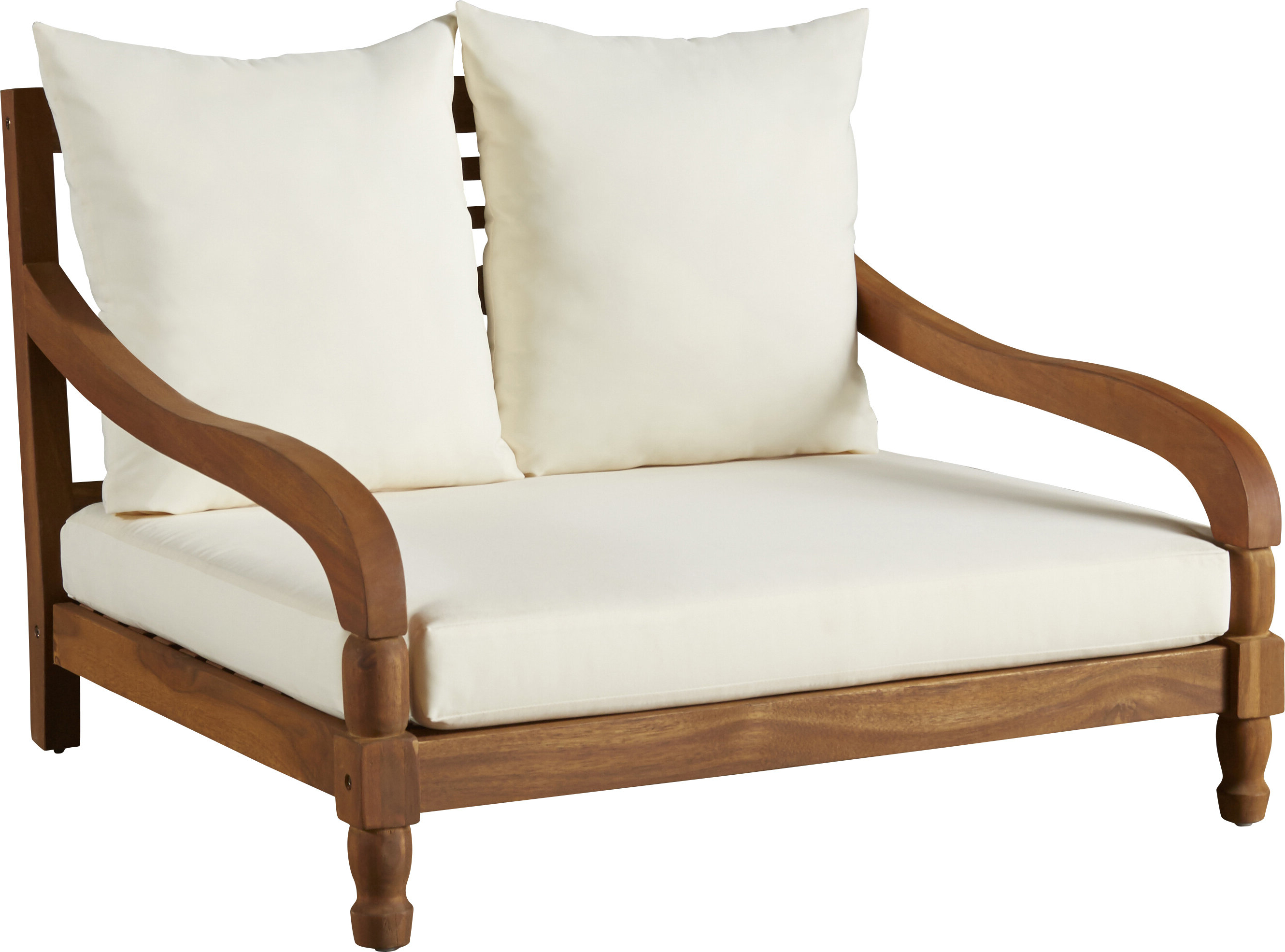 Oudoor Modern Acacia Wood Chaise Lounges With Cushion With Regard To Well Known Wiest Double Chaise Lounge With Cushion (Gallery 25 of 25)