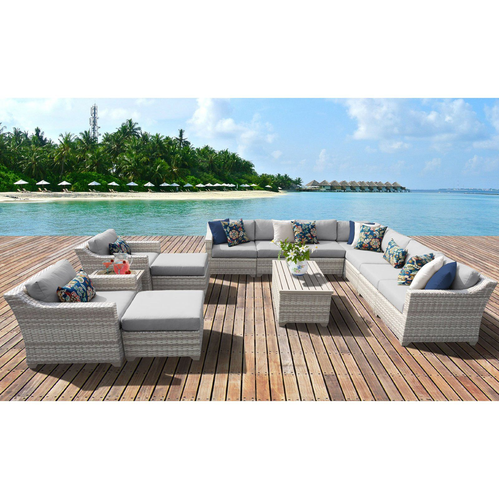 Outdoor 13 Piece Wicker Patio Sets With Cushions For Widely Used Outdoor Tk Classics Fairmont All Weather Wicker 13 Piece (View 13 of 25)