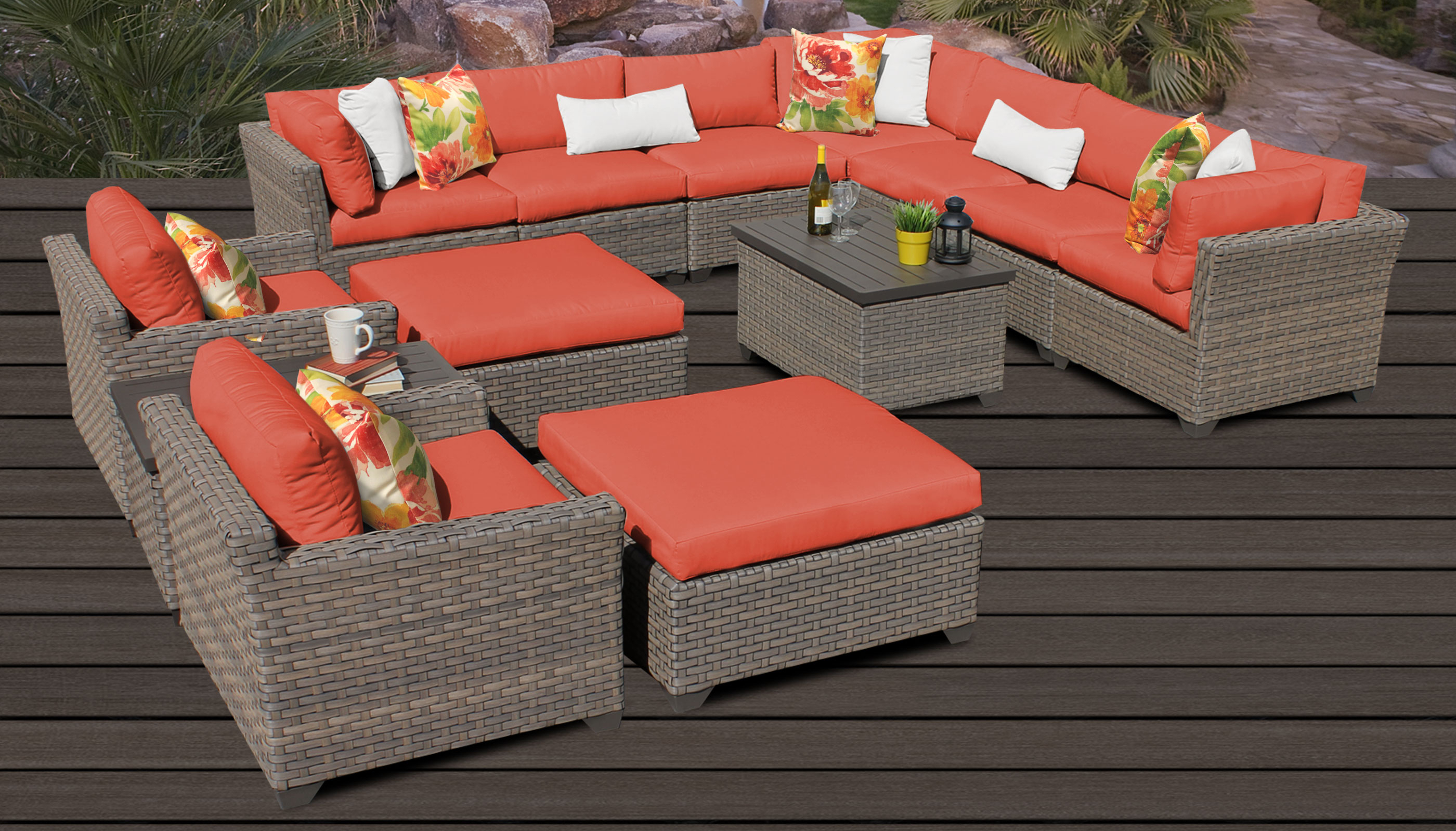 Outdoor 13 Piece Wicker Patio Sets With Cushions In Latest Monterey 13 Piece Outdoor Wicker Patio Furniture Set 13a (View 20 of 25)