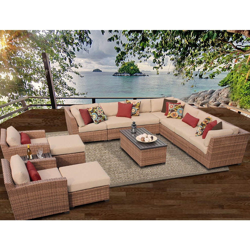 Outdoor 13 Piece Wicker Patio Sets With Cushions Intended For Most Recently Released Laguna 13 Piece Outdoor Wicker Patio Furniture Set 13a (View 7 of 25)