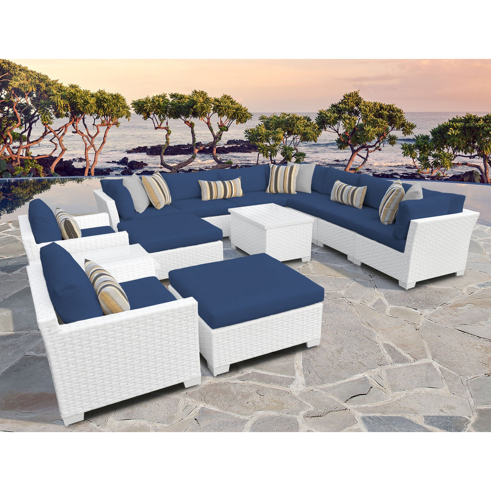 Featured Photo of Outdoor 13-piece Wicker Patio Sets with Cushions