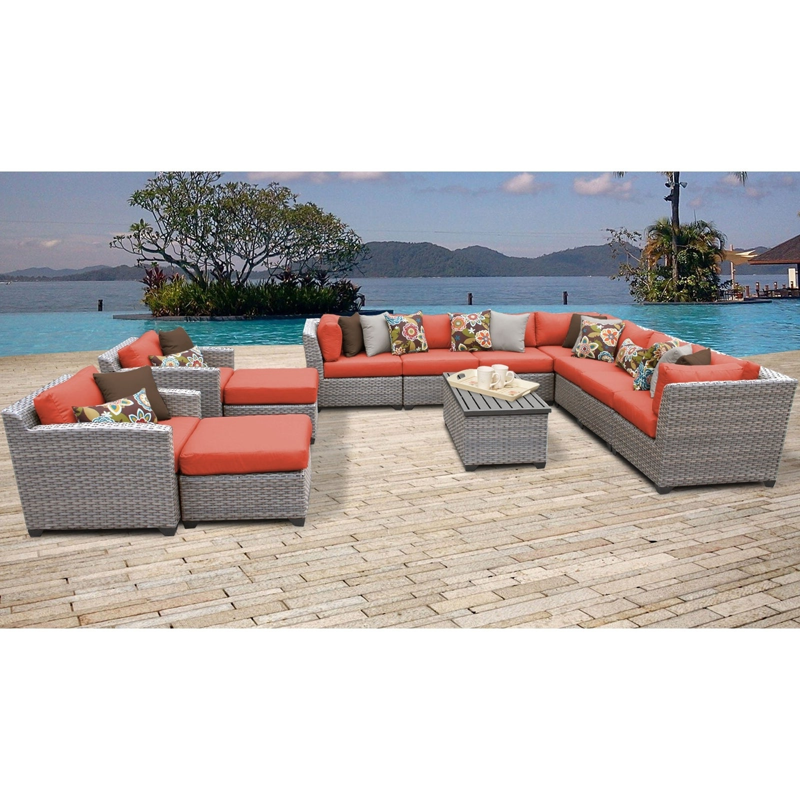 Outdoor 13 Piece Wicker Patio Sets With Cushions Regarding Latest Florence 13 Piece Outdoor Wicker Patio Furniture Set 13a (View 11 of 25)