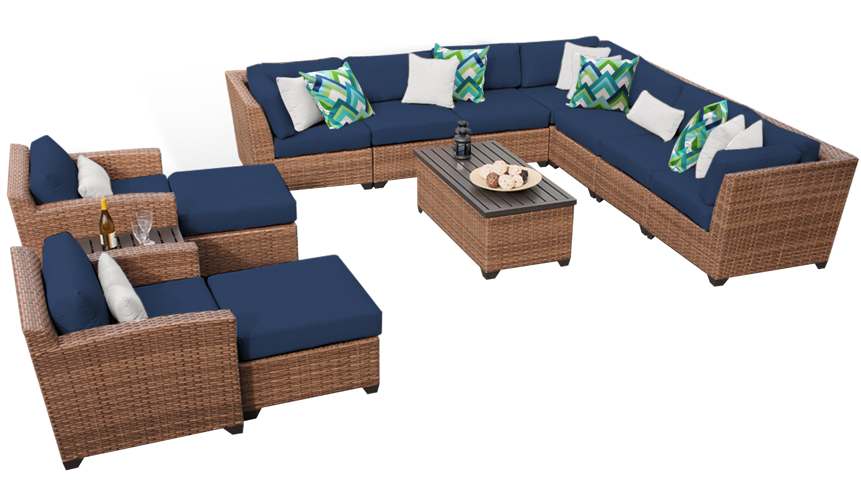 Outdoor 13 Piece Wicker Patio Sets With Cushions With Trendy Waterbury 13 Piece Rattan Sectional Seating Group With Cushions (View 21 of 25)