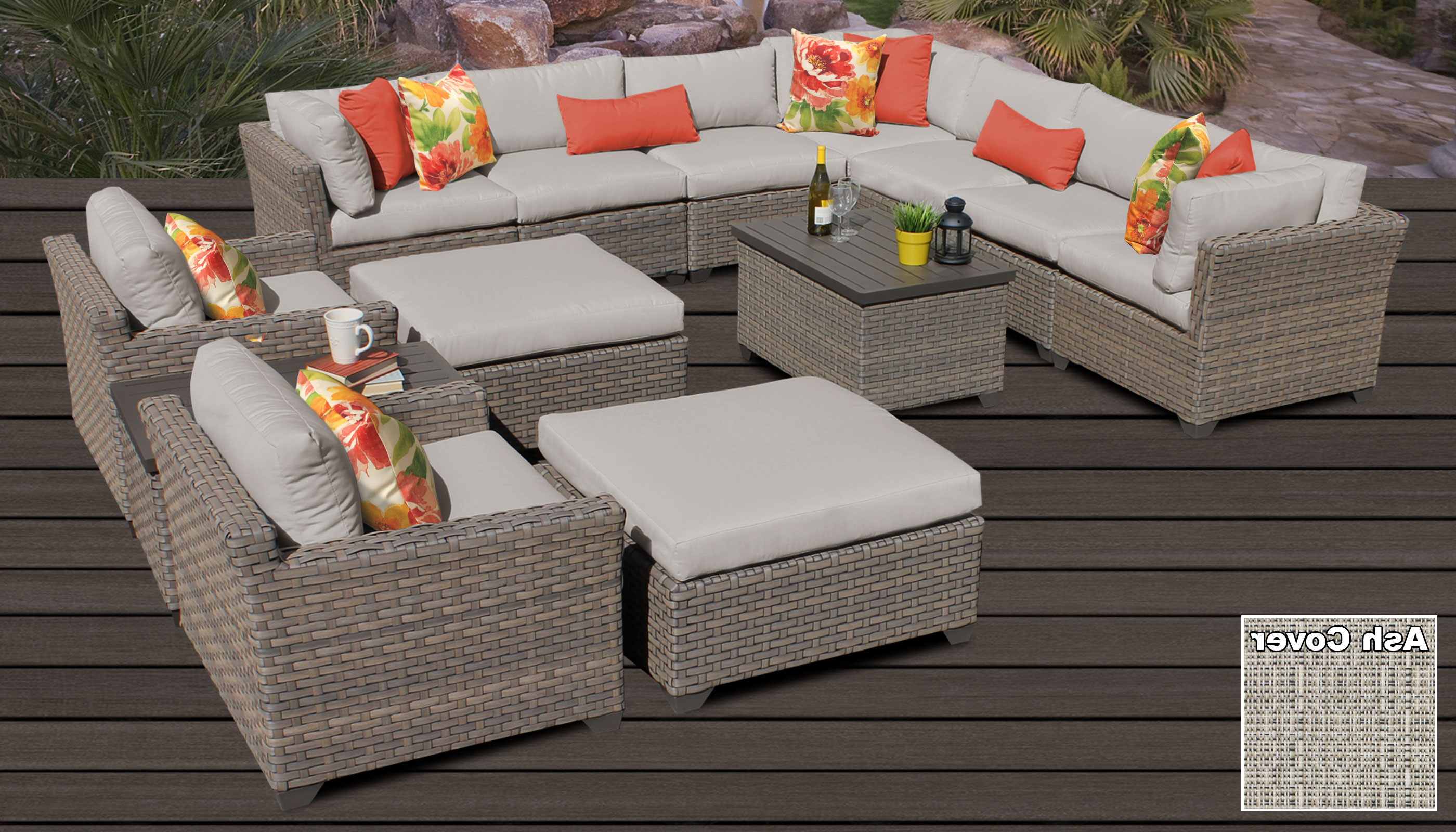 Outdoor 13 Piece Wicker Patio Sets With Cushions With Well Known Monterey 13 Piece Outdoor Wicker Patio Furniture Set 13a (View 8 of 25)