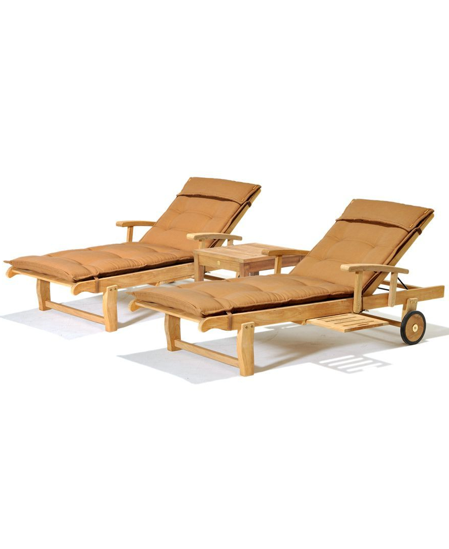 Outdoor 3 Piece Acacia Wood Chaise Lounge Sets Intended For Fashionable Bristol Outdoor Teak 3 Pc (View 10 of 25)