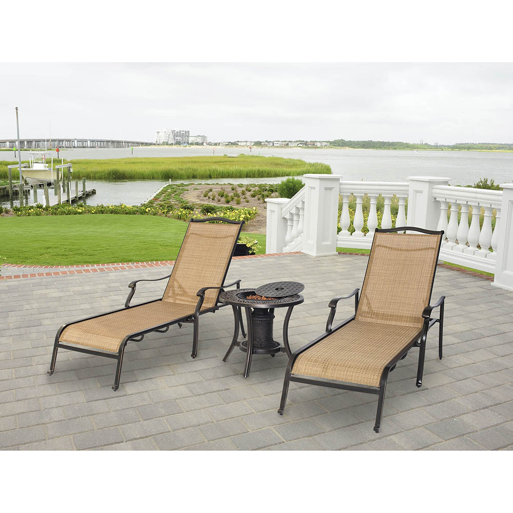 Outdoor 3 Piece Chaise Lounger Sets With Table Pertaining To 2019 Hanover Set Of Two Monaco Chaise Lounge Chairs And One Fire Urn, Monchs3pc Urn (View 17 of 25)