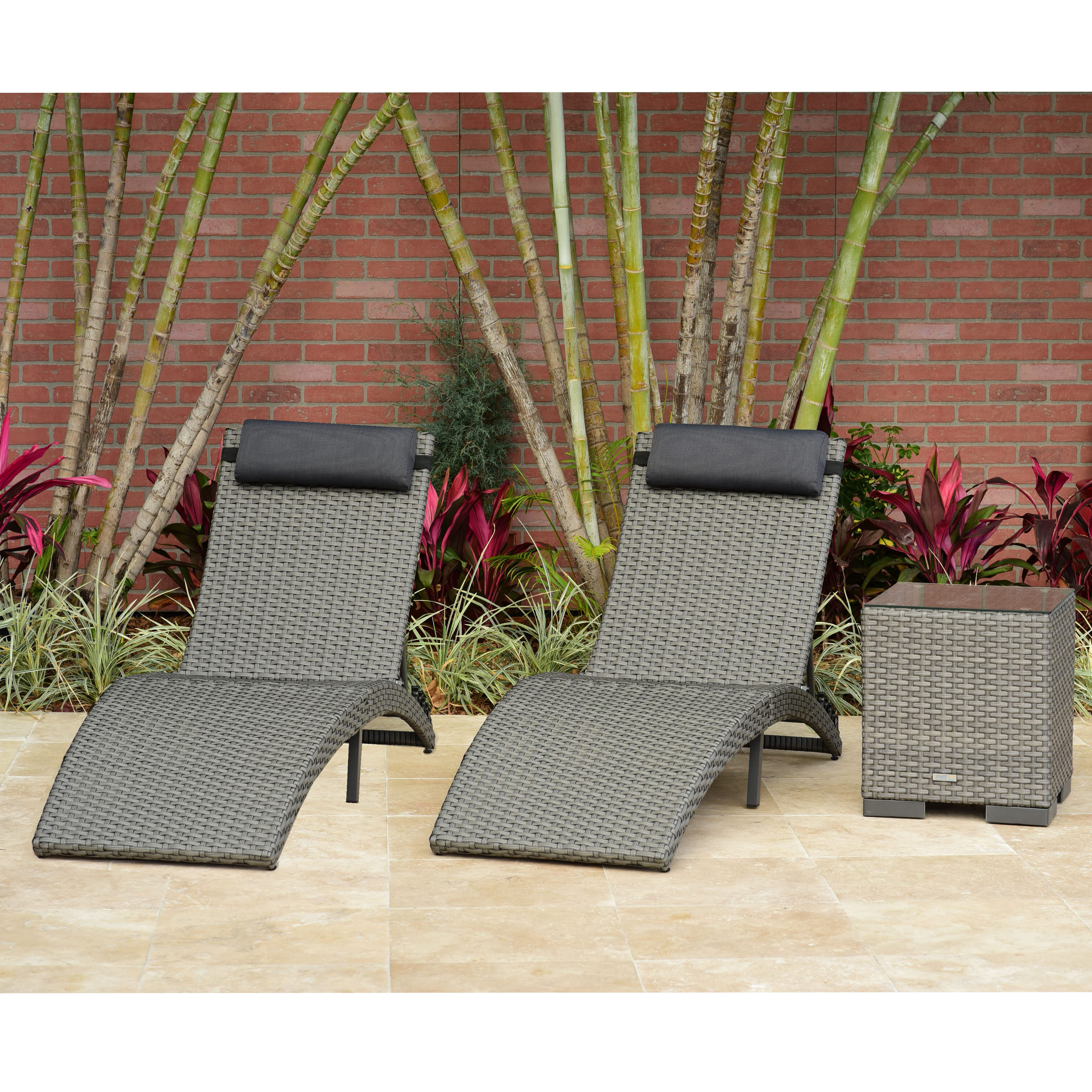 Outdoor 3 Piece Wicker Chaise Lounges And Table Sets For Most Popular Sansom 3 Piece Chaise Lounge Set With Cushion And Table (View 12 of 25)