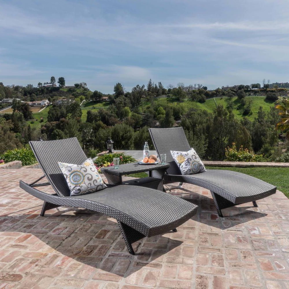 Outdoor 3 Piece Wicker Chaise Lounges And Table Sets In 2020 Noble House Marshall Grey Armless 3 Piece Wicker Outdoor Chaise Lounge And  Table Set (View 13 of 25)