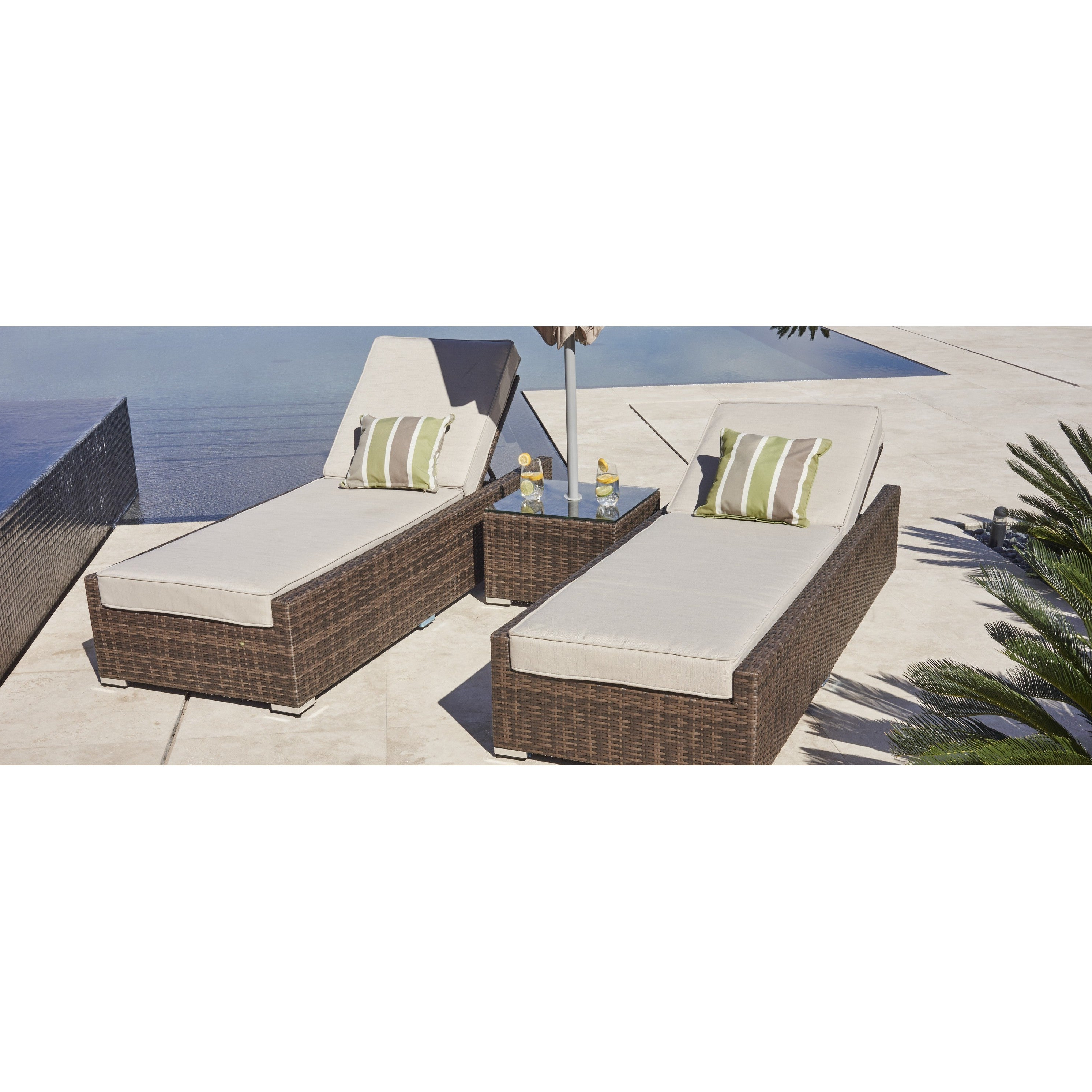 Outdoor 3 Piece Wicker Chaise Lounges And Table Sets Inside Famous Vida Brown Wicker Outdoor Patio Chaise Lounger Chairs And Side Table (Set  Of 3) (View 14 of 25)