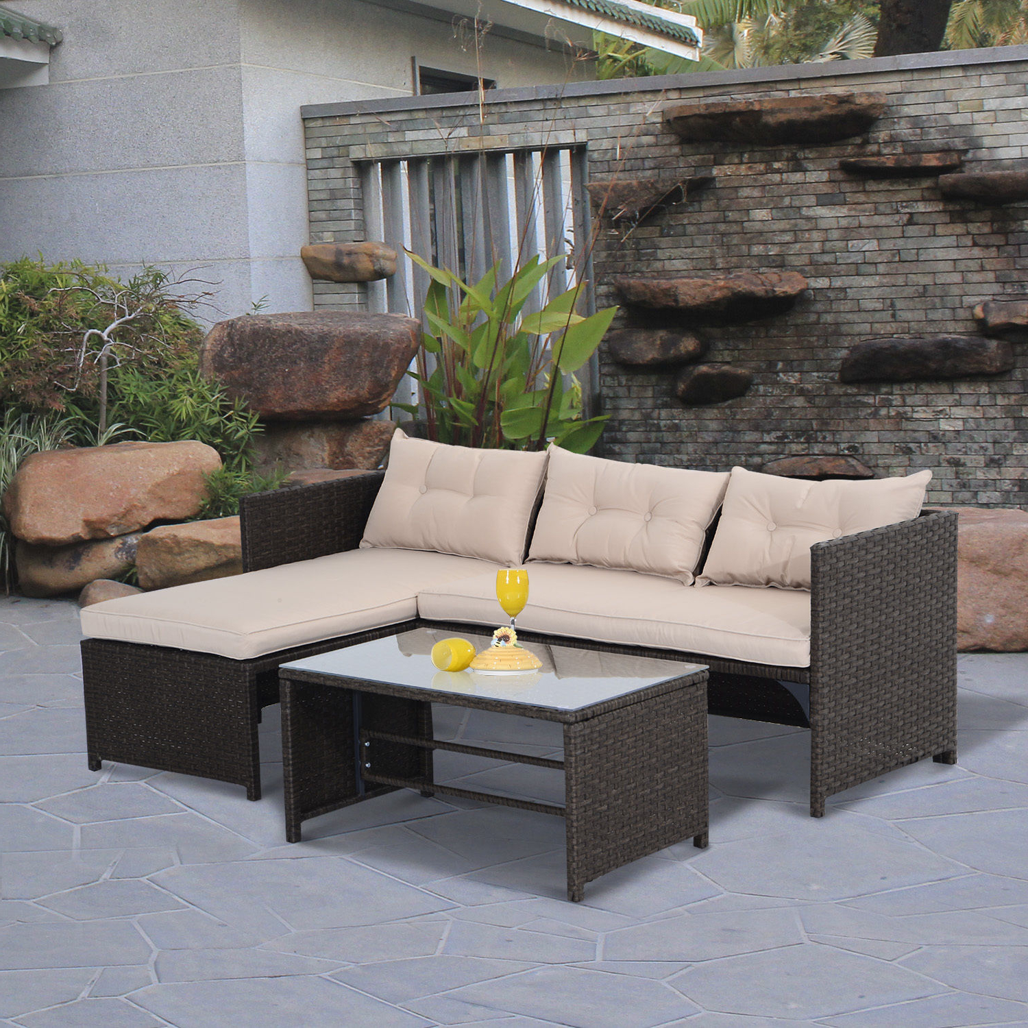 Outdoor 3 Piece Wicker Chaise Lounges And Table Sets Within 2019 Details About 3Pc Patio Rattan Wicker Sofa Set Cushined Couch Furniture  Outdoor Garden (View 18 of 25)
