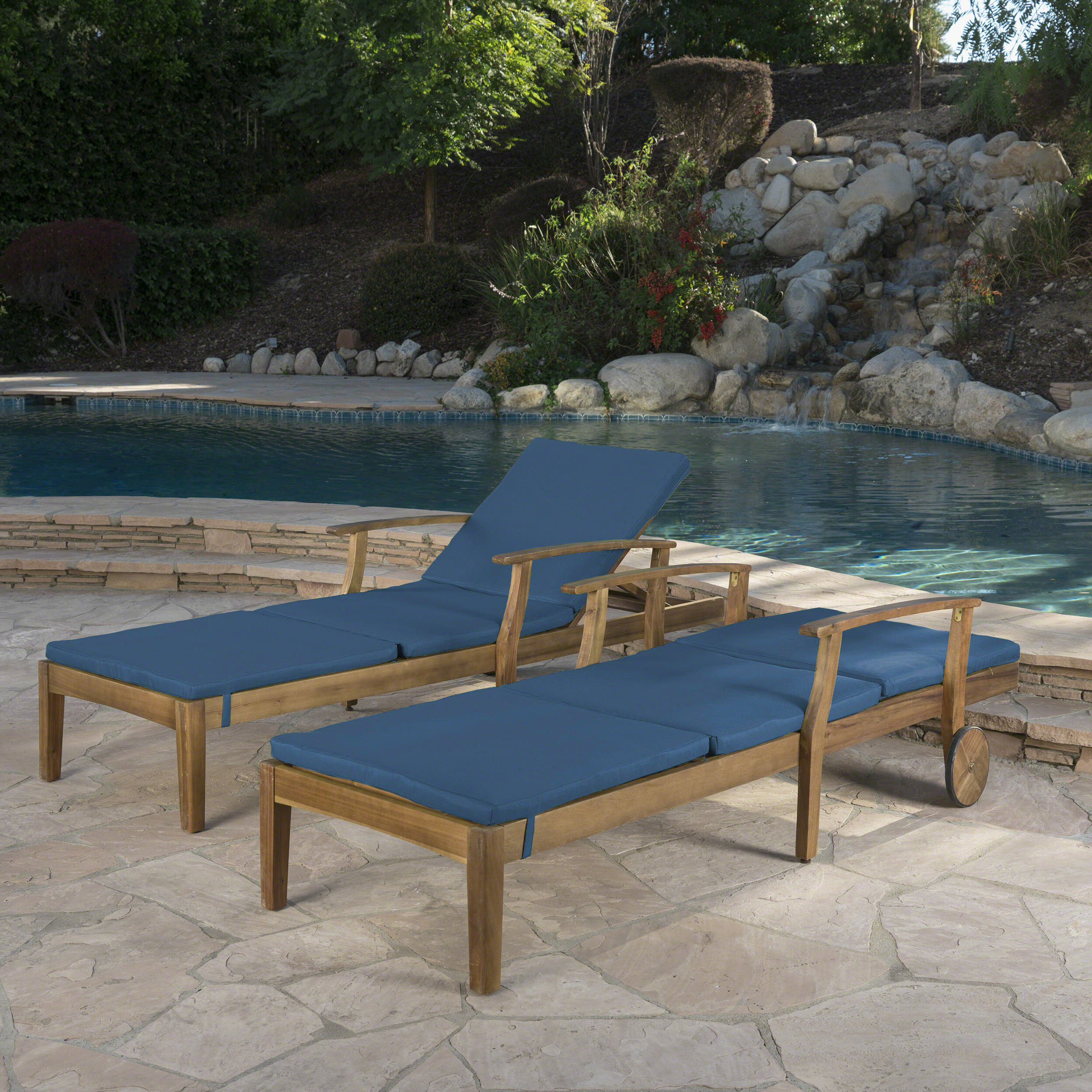 Outdoor Acacia Wood Chaise Lounges And Cushion Sets Throughout Best And Newest Mistana Antonia Reclining Chaise Lounge With Cushion (Gallery 25 of 25)