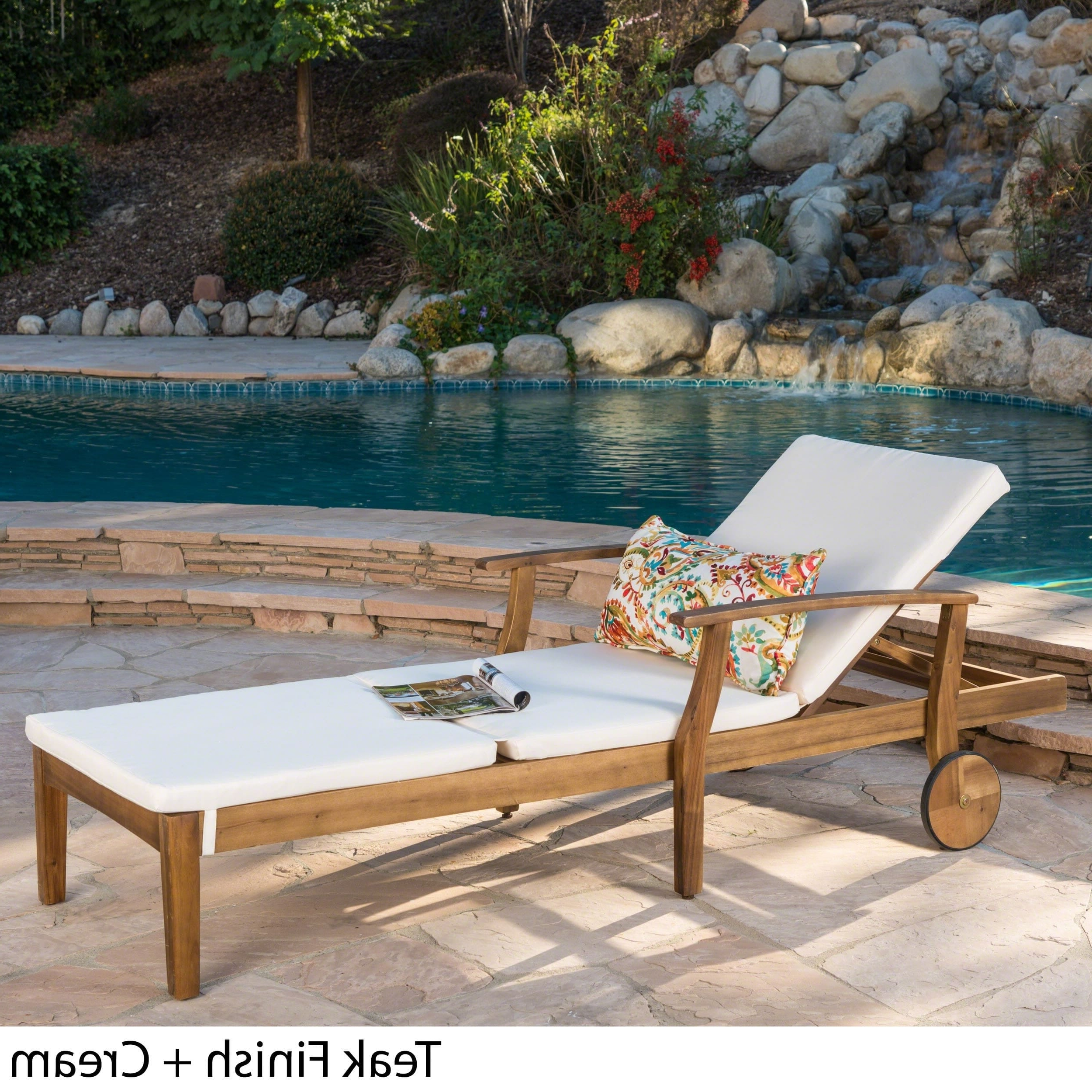 Outdoor Acacia Wood Chaise Lounges And Cushion Sets With Regard To Newest Christopher Knight Home Perla Outdoor Acacia Wood Chaise Lounge With  Cushion By (View 17 of 25)