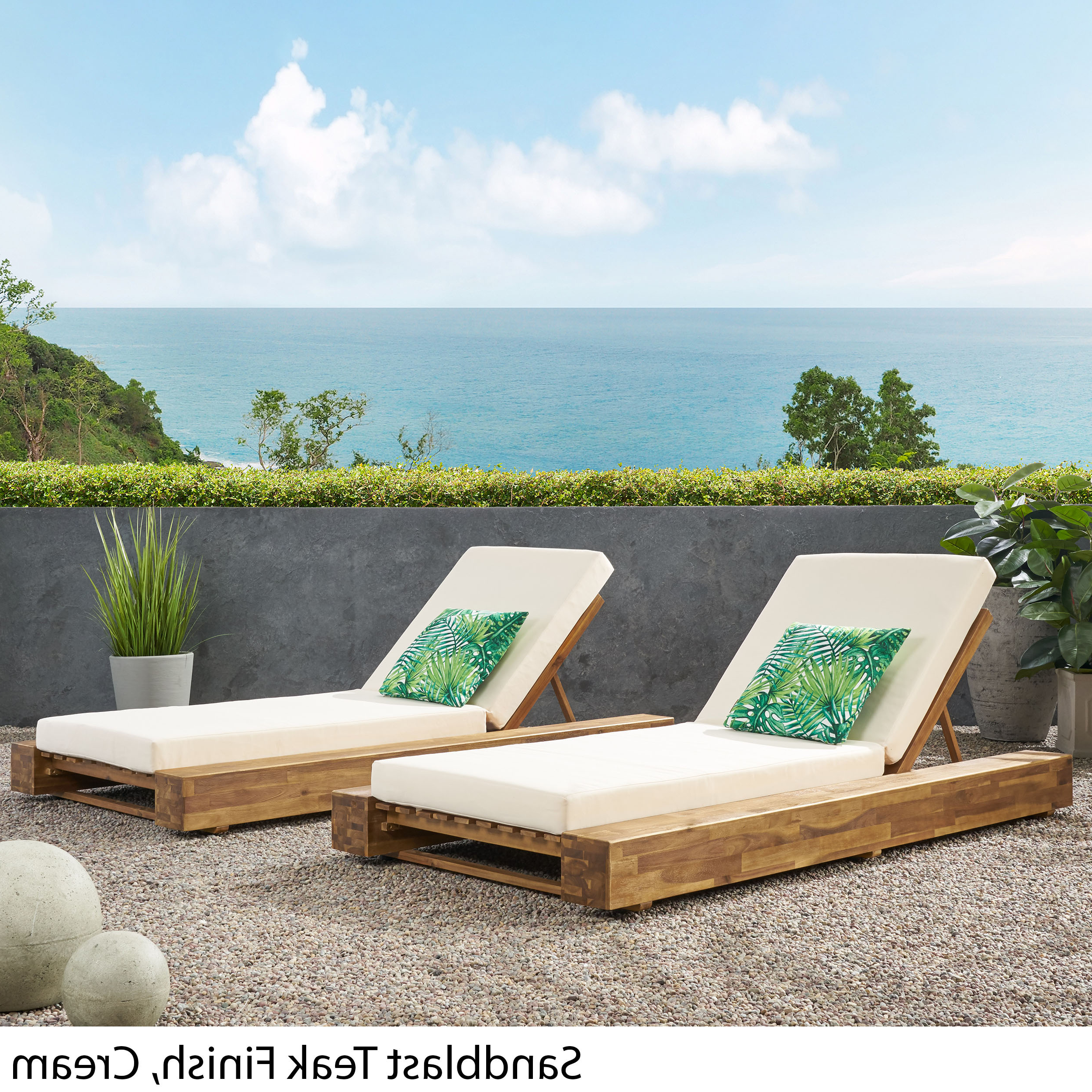 Outdoor Acacia Wood Chaise Lounges With Cushion For Well Known Details About Ursula Outdoor Acacia Wood Chaise Lounge And Cushion Sets (set Of 2) (View 9 of 25)