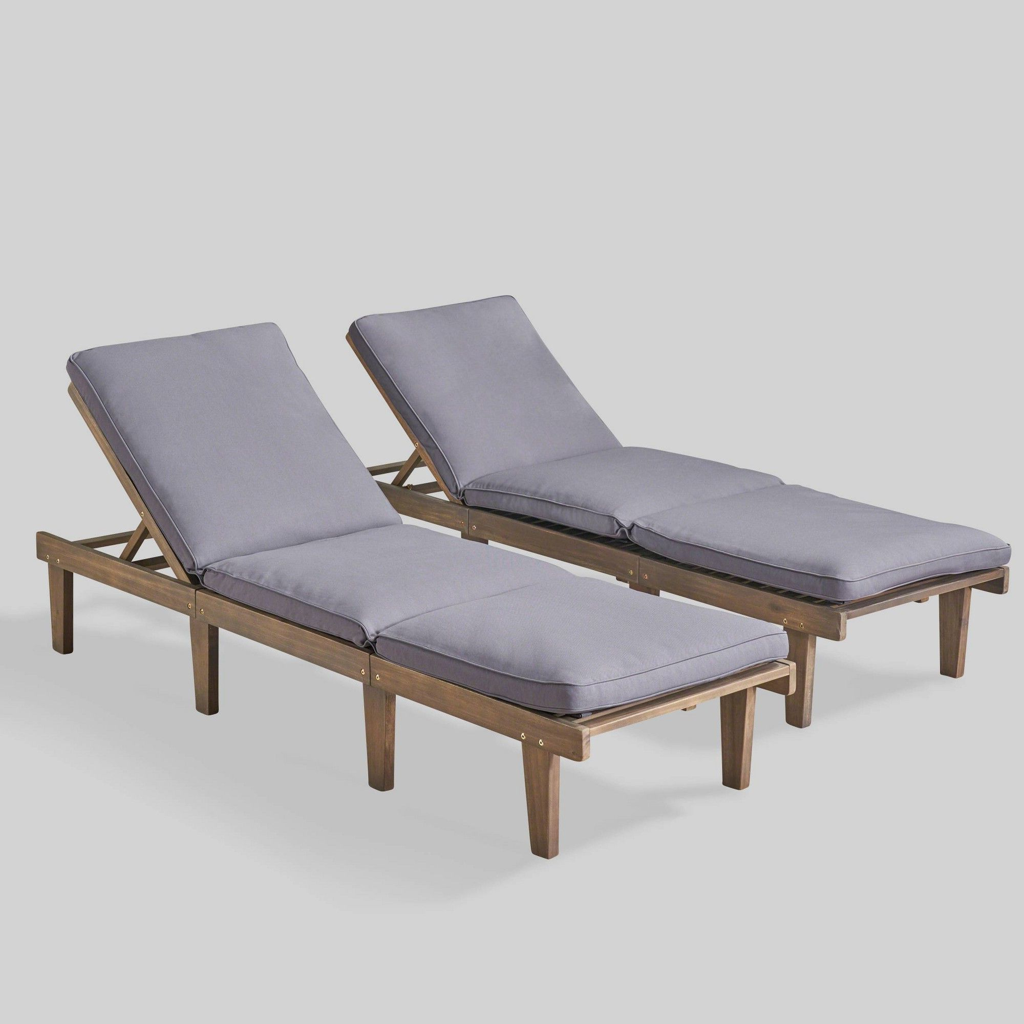 Outdoor Acacia Wood Chaise Lounges With Cushion Throughout Famous Ariana 2pk Acacia Wood Chaise Lounge Gray/dark Gray (Gallery 11 of 25)