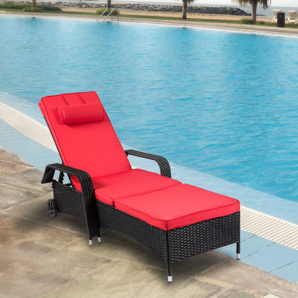 Outdoor Adjustable Rattan Wicker Chaise Pool Chairs With Cushions For Widely Used Shop For Kinbor Outdoor Wicker Chaise Lounge Chair All (Gallery 12 of 25)