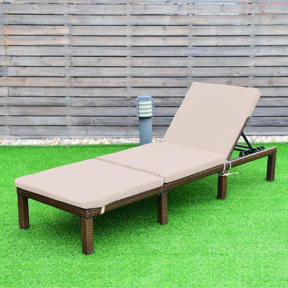 Outdoor Adjustable Rattan Wicker Chaise Pool Chairs With Cushions In Current Adjustable Chaise Lounge Chair 4 Position Patio Outdoor (Gallery 4 of 25)