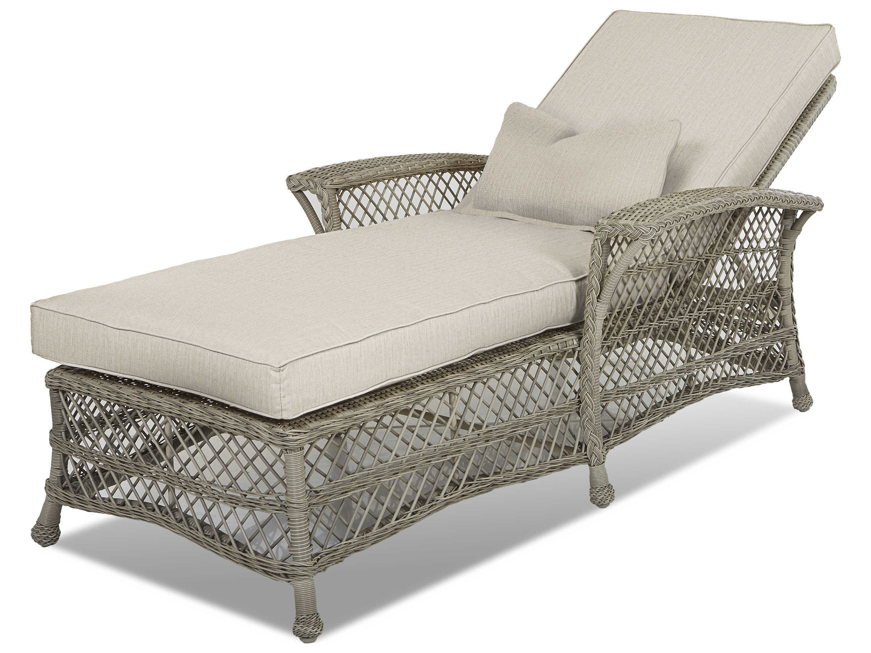 Outdoor Adjustable Rattan Wicker Chaise Pool Chairs With Cushions Regarding Most Current Klaussner Willow Wicker Cushion Chaise Lounge (Gallery 21 of 25)