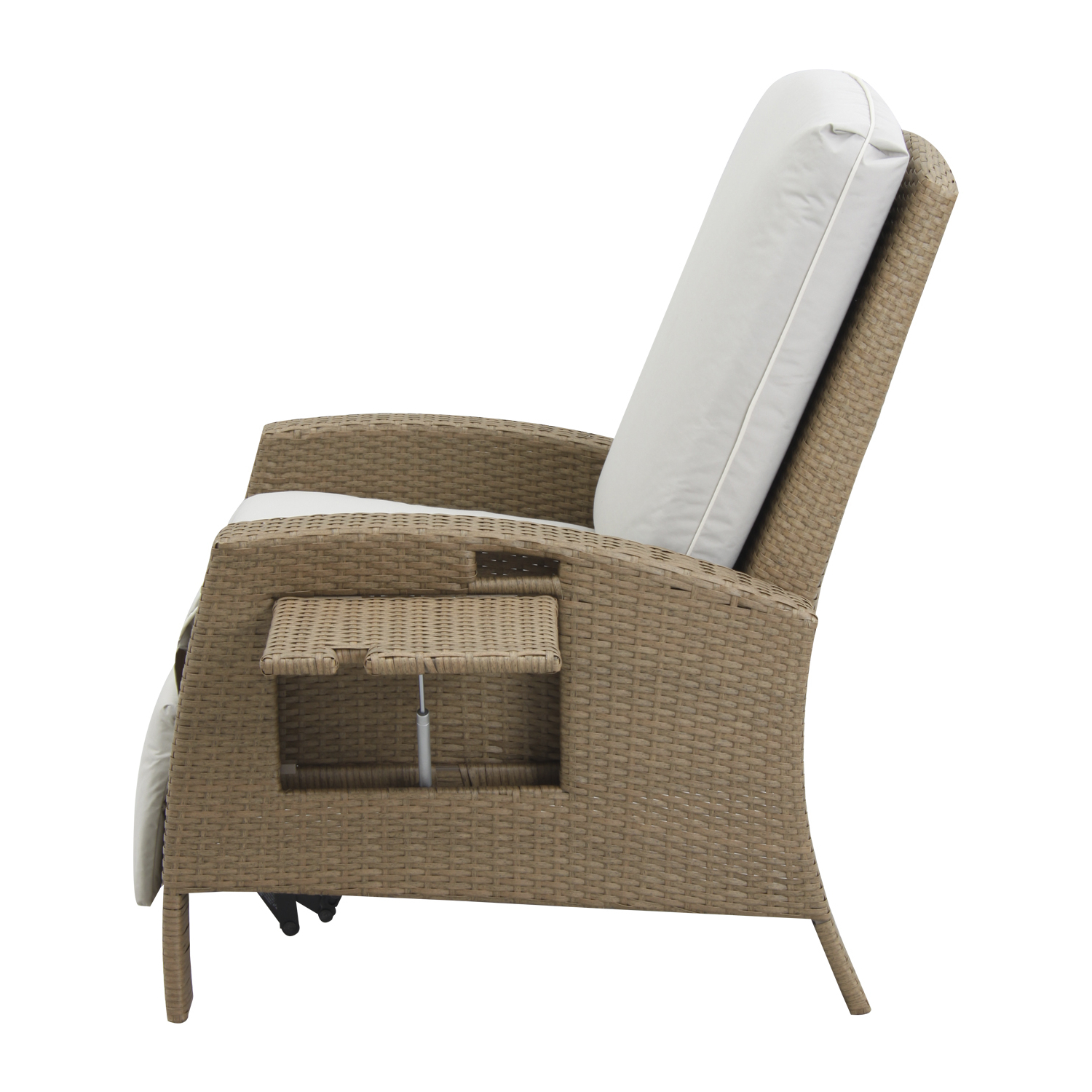 Outdoor Adjustable Rattan Wicker Recliner Chairs With Cushion Throughout Recent Outsunny Rattan Wicker Outdoor Adjustable Recliner Lounge Chair (Gallery 4 of 25)