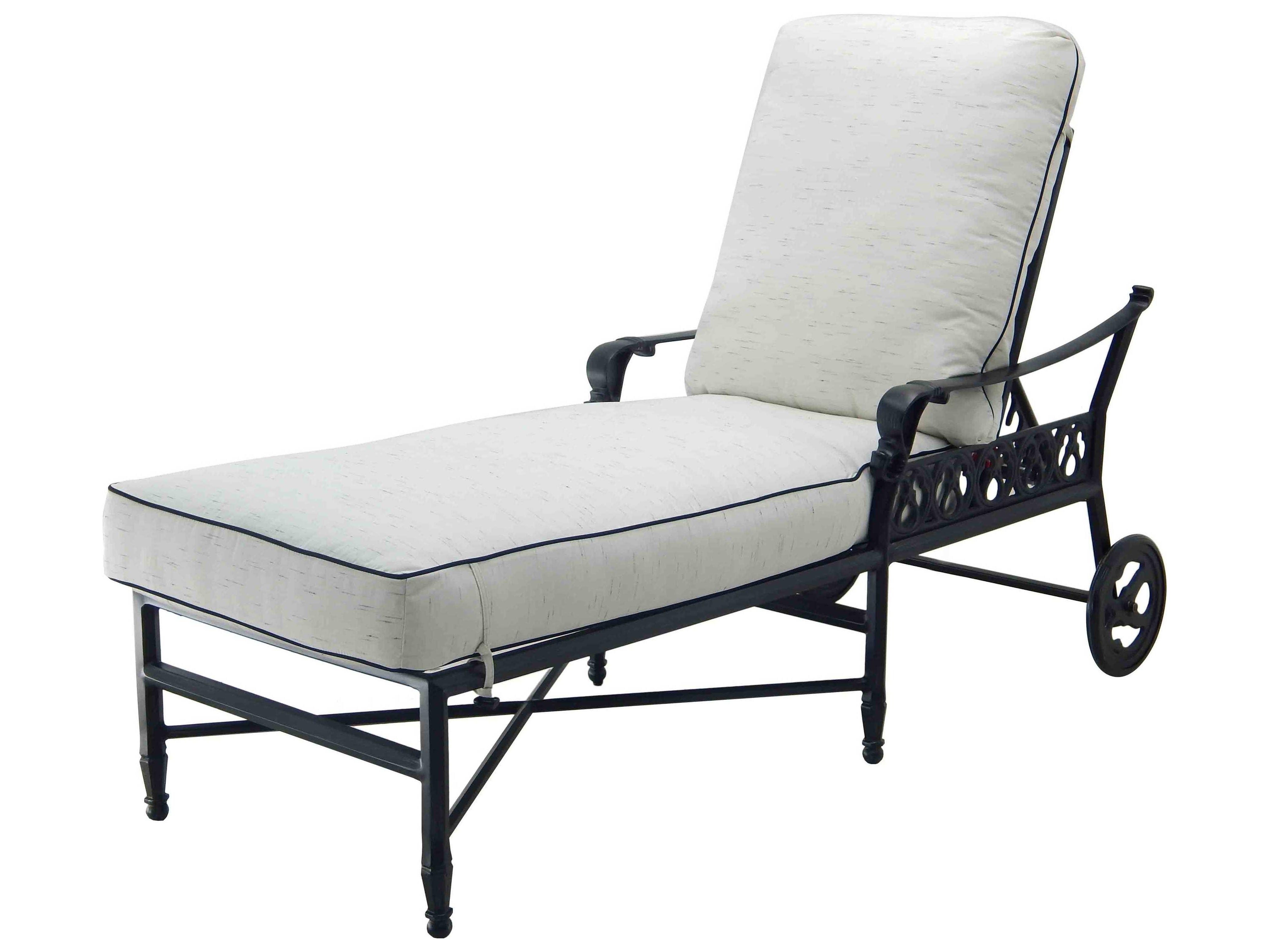 Outdoor Aluminum Adjustable Chaise Lounges Inside Most Current Castelle Biltmore Estate Cast Aluminum Adjustable Chaise Lounge With Wheels (View 11 of 25)