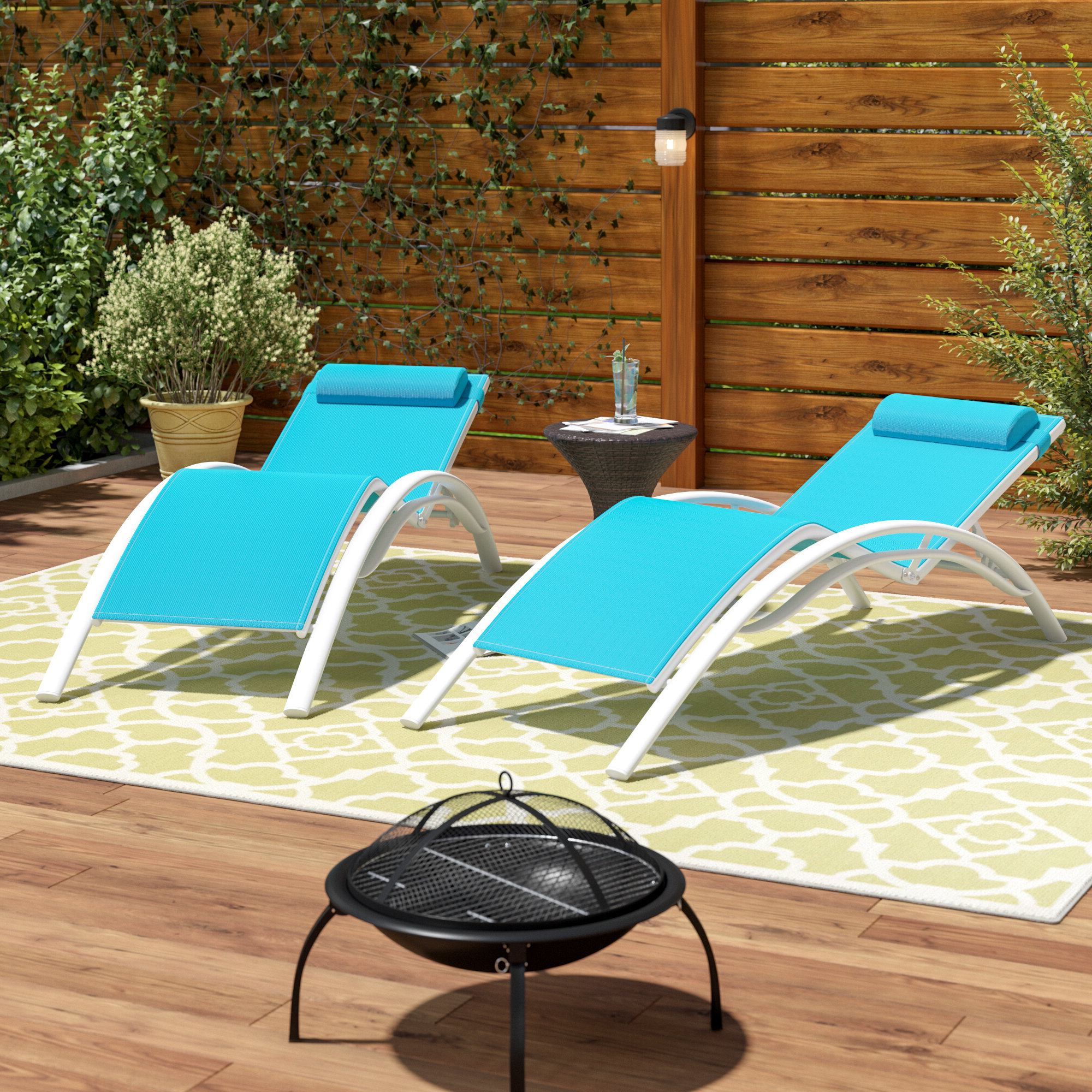 Outdoor Aluminum Adjustable Chaise Lounges With Recent Kozylounge Elegant Patio Reclining Adjustable Chaise Lounge Aluminum And  Pvc Coated Polyester Sunbathing Chair For All Weather With Headrest (2  Pack, (View 15 of 25)