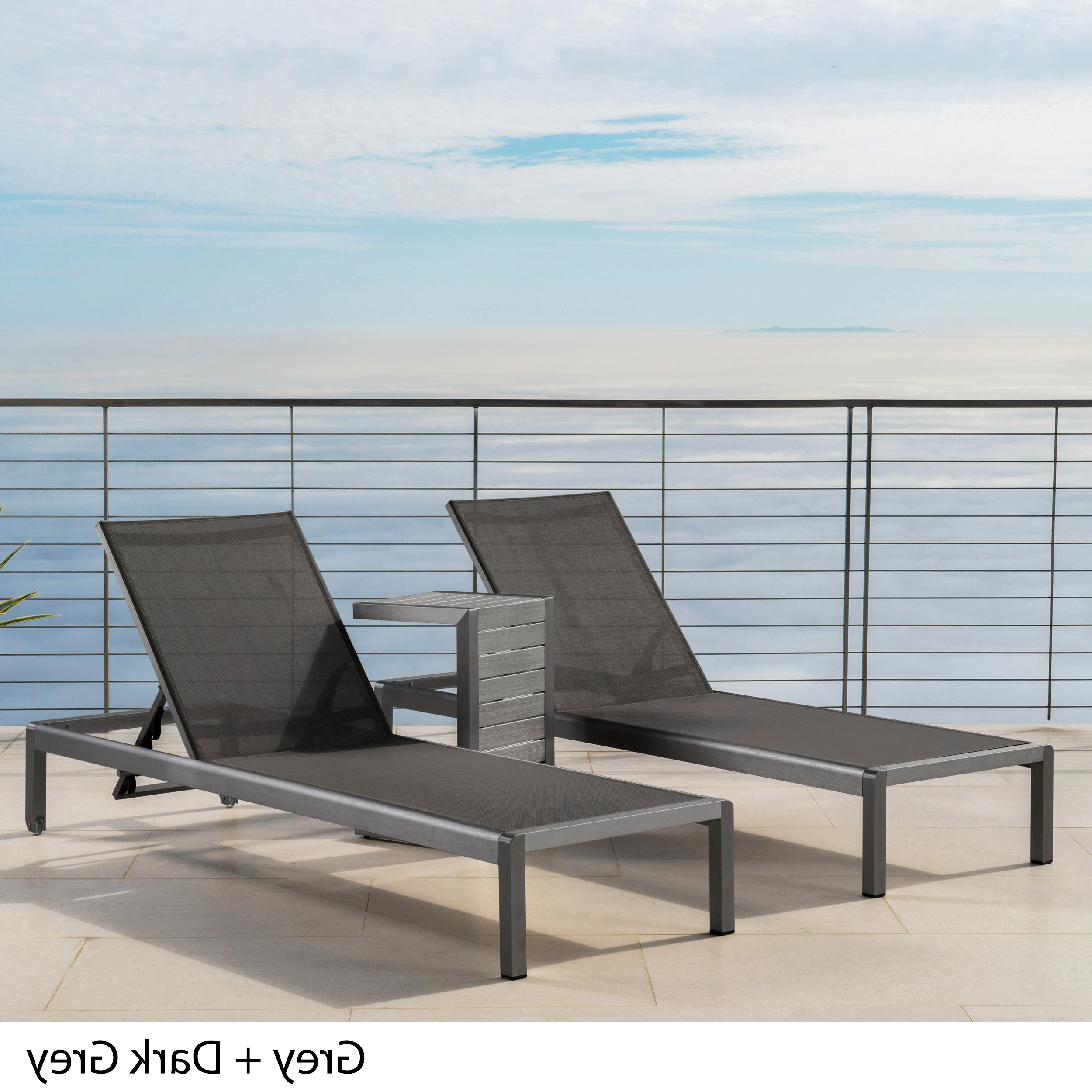 Outdoor Aluminum Chaise Lounges Inside Recent Details About Coral Bay Outdoor Gray Aluminum Chaise Lounge And C Shaped  Side Table (View 20 of 25)