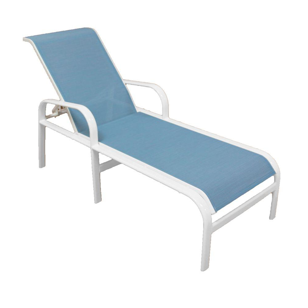 Outdoor Aluminum Chaise Lounges Regarding Most Current Marco Island Commercial Grade White/dupione Poolside Sling (View 13 of 25)