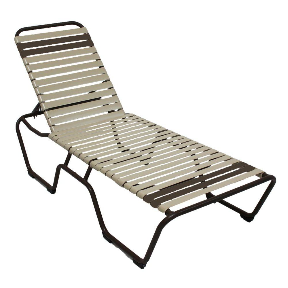Outdoor Aluminum Chaise Lounges Throughout Latest Marco Island Cafe Brown Commercial Grade Aluminum Patio Chaise Lounge With Putty And Leisure Brown Vinyl Straps (2 Pack) (View 25 of 25)