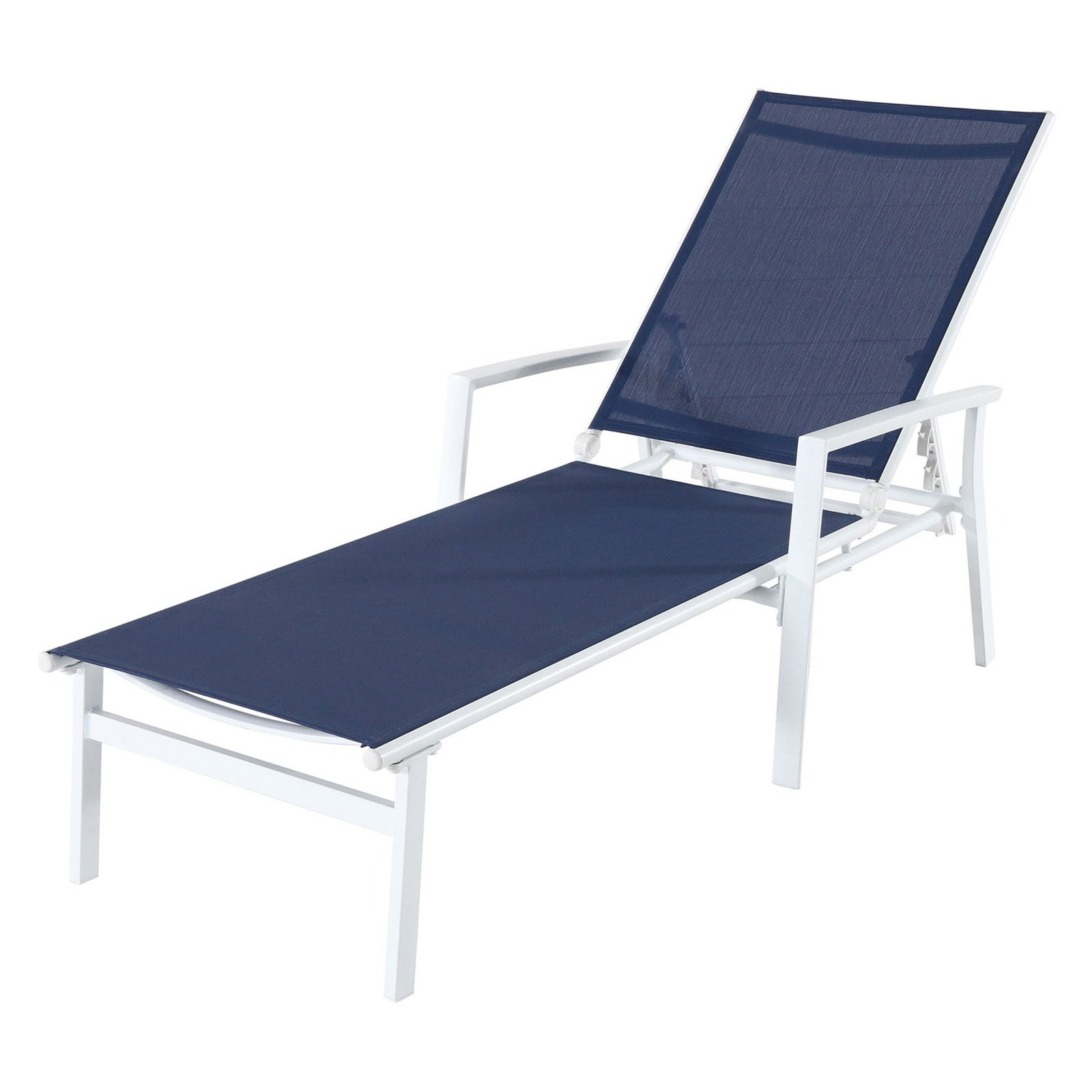 Outdoor Cambridge Nova Sling Adjustable Chaise Lounge Navy Throughout Widely Used Myers Outdoor Aluminum Mesh Chaise Lounges (View 20 of 25)