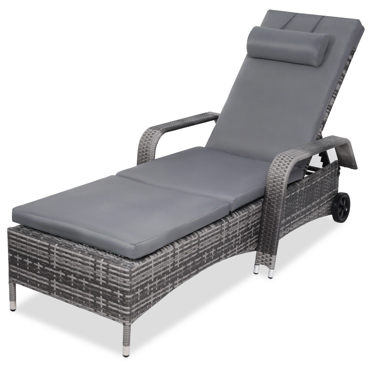 Outdoor Cart Wheel Adjustable Chaise Lounge Chairs Intended For Well Liked Wicker Chaise Lounge Chair Adjustable Outdoor Patio Furniture Reclining  Wheels (View 13 of 25)