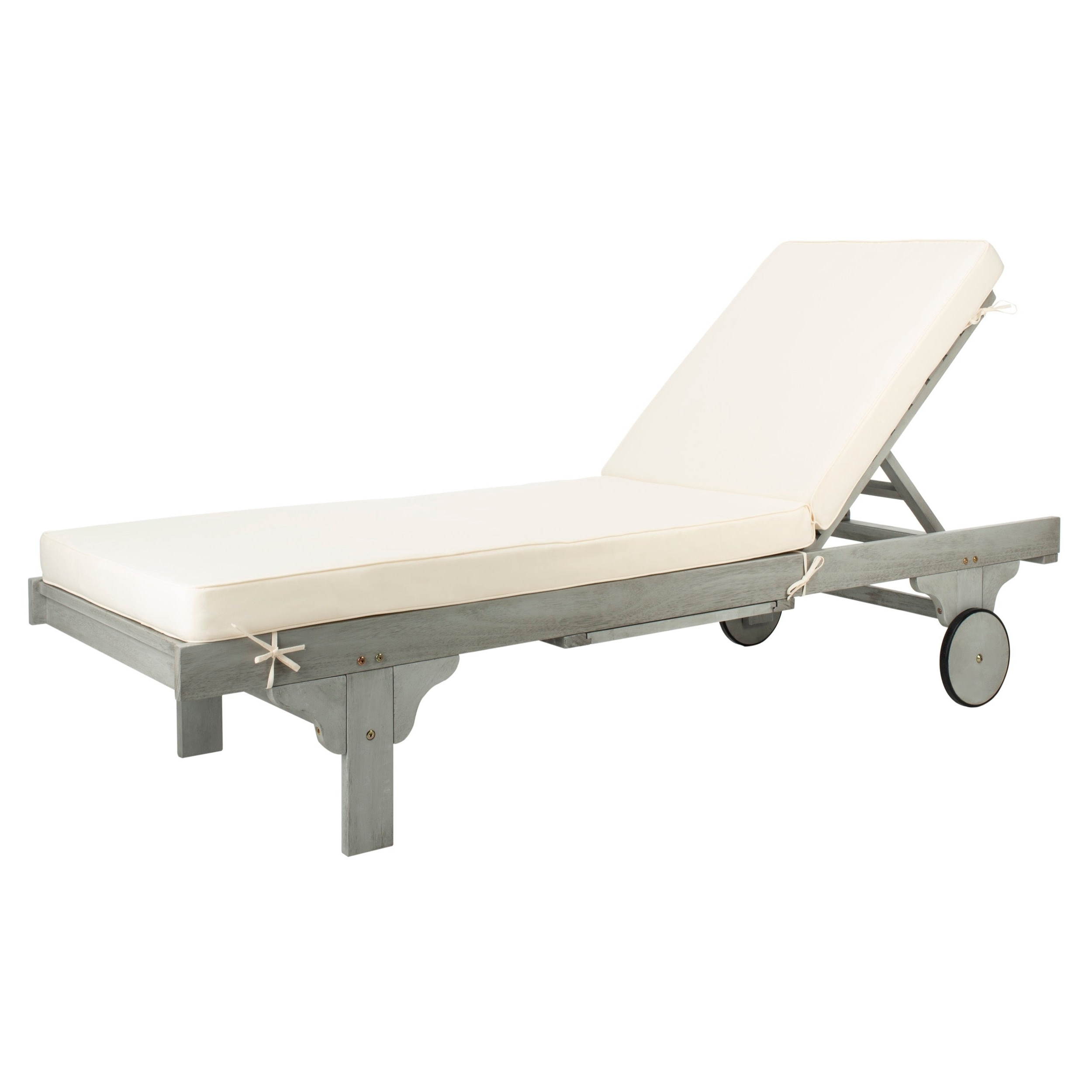 "Outdoor Cart Wheel Adjustable Chaise Lounge Chairs Within Newest Safavieh Outdoor Living Newport Ash Grey/ White Cart Wheel Adjustable Chaise Lounge Chair – 27.6"" X 78.7"" X (View 4 of 25)"