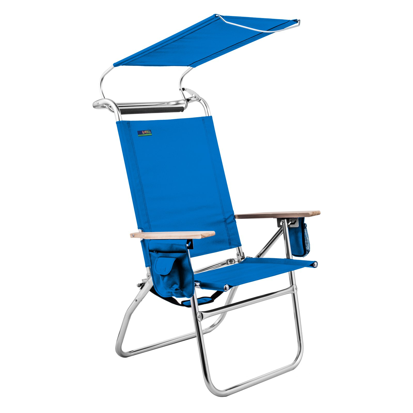 Outdoor Copa 4 Position Big Tycoon Canopy Beach Chair Blue Regarding 2019 Folding Patio Lounge Beach Chairs With Canopy (View 20 of 25)