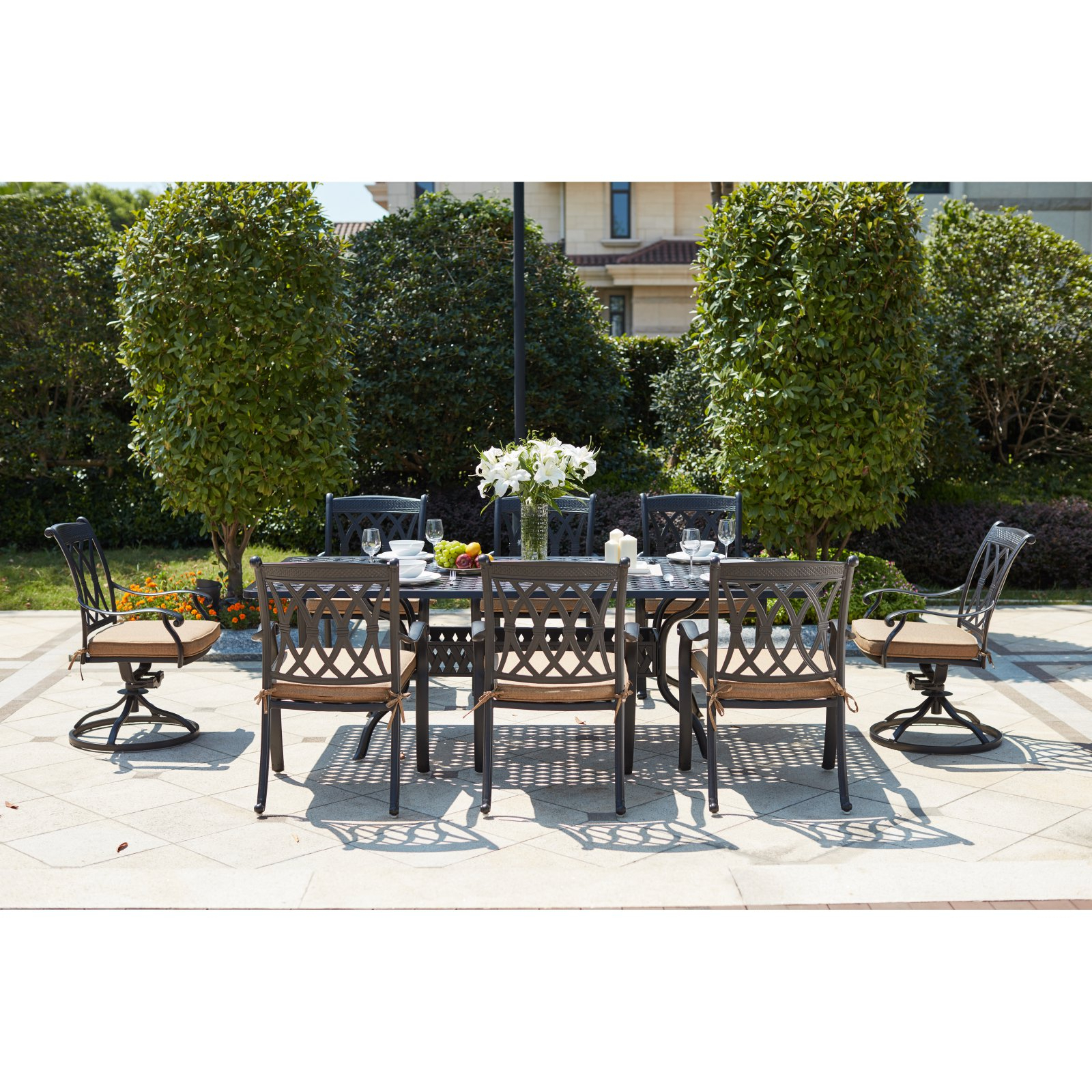 Outdoor Darlee Capri 9 Piece Aluminum Rectangular Patio With Regard To Well Known Havenside Home Fenwick Chaise Lounge Chairs (Gallery 24 of 25)