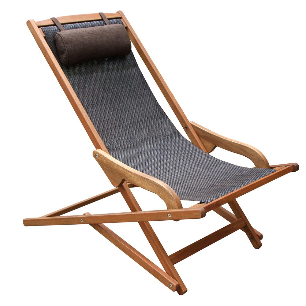 Outdoor Interiors Dark Brown Foldable Sling And Eucalyptus Outdoor Lounge  Chair With Head Pillow With Regard To Trendy Outdoor Wood Sling Chairs (View 11 of 25)