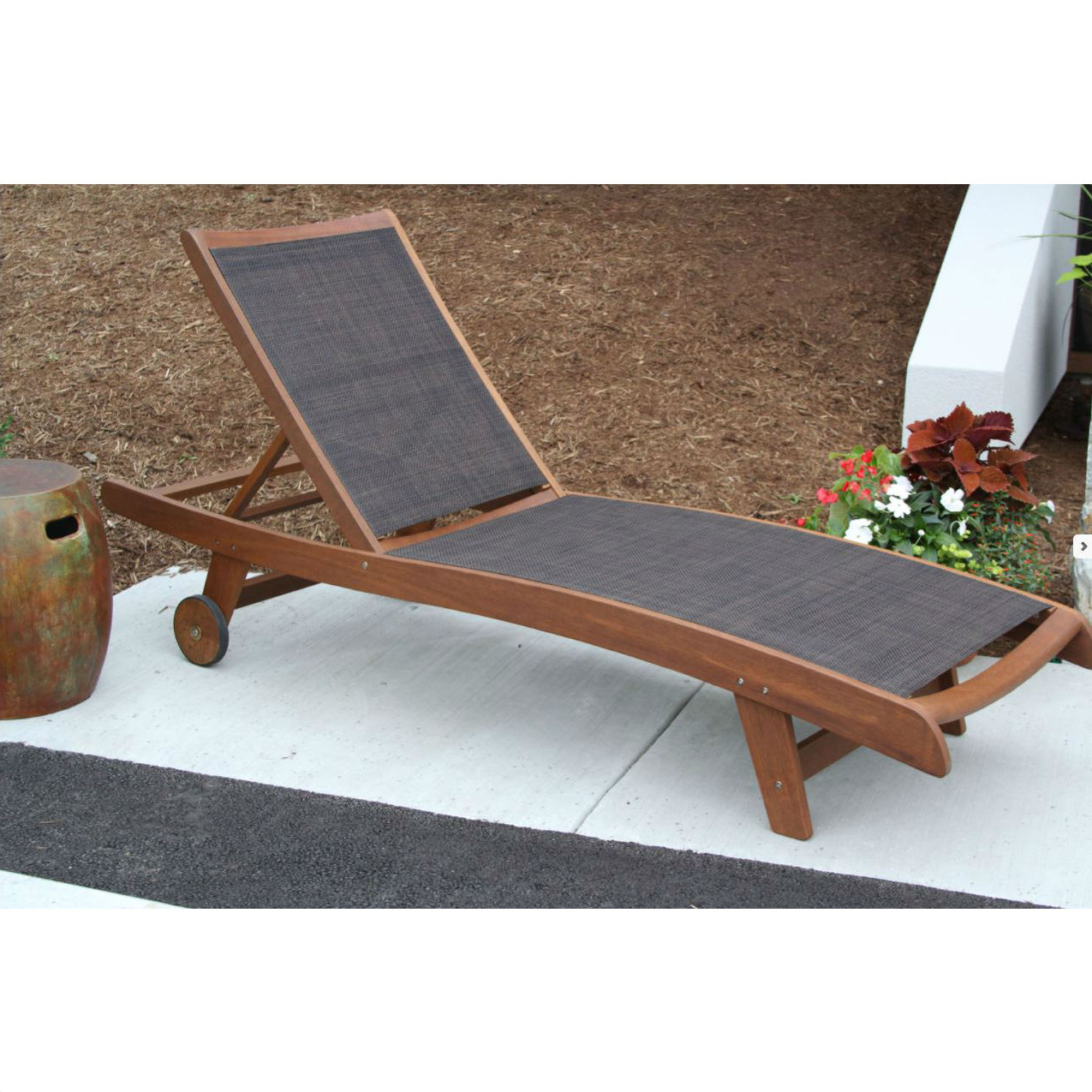 Outdoor Interiors Eucalyptus & Brown Sling Chaise Lounger – Sl22646 Inside Best And Newest Eucalyptus Teak Finish Outdoor Chaise Loungers With Cushion (View 17 of 25)