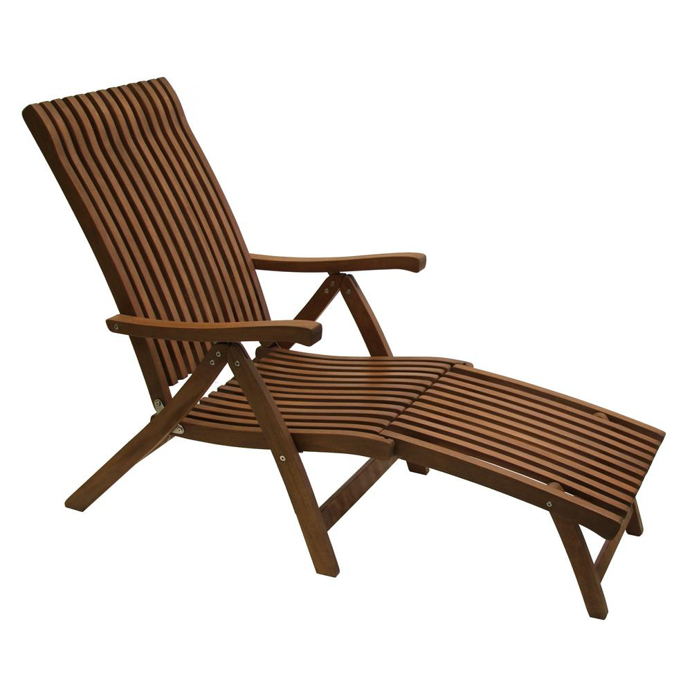 Outdoor Interiors Venetian Reclining Eucalyptus Wood Outdoor Lounge Chair  With Ottoman Within Well Known Brown Folding Patio Chaise Lounger Chairs (View 20 of 25)