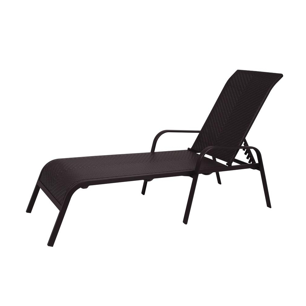 Outdoor Living Azusa Sunloungers Inside Favorite Hampton Bay Adjustable Stacking Wicker Outdoor Lounge Chair (View 18 of 25)