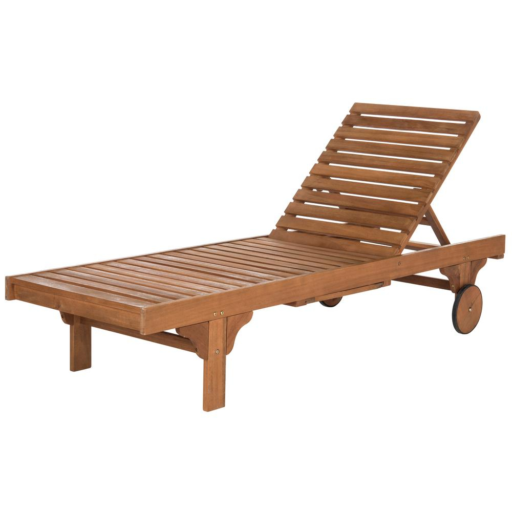 Outdoor Living Inglewood Brown Acacia Wood Beige Cushion Lounge Chairs Throughout Most Recently Released Safavieh Newport Natural Brown Adjustable Wood Outdoor Lounge Chair With  Navy Cushion (View 18 of 25)