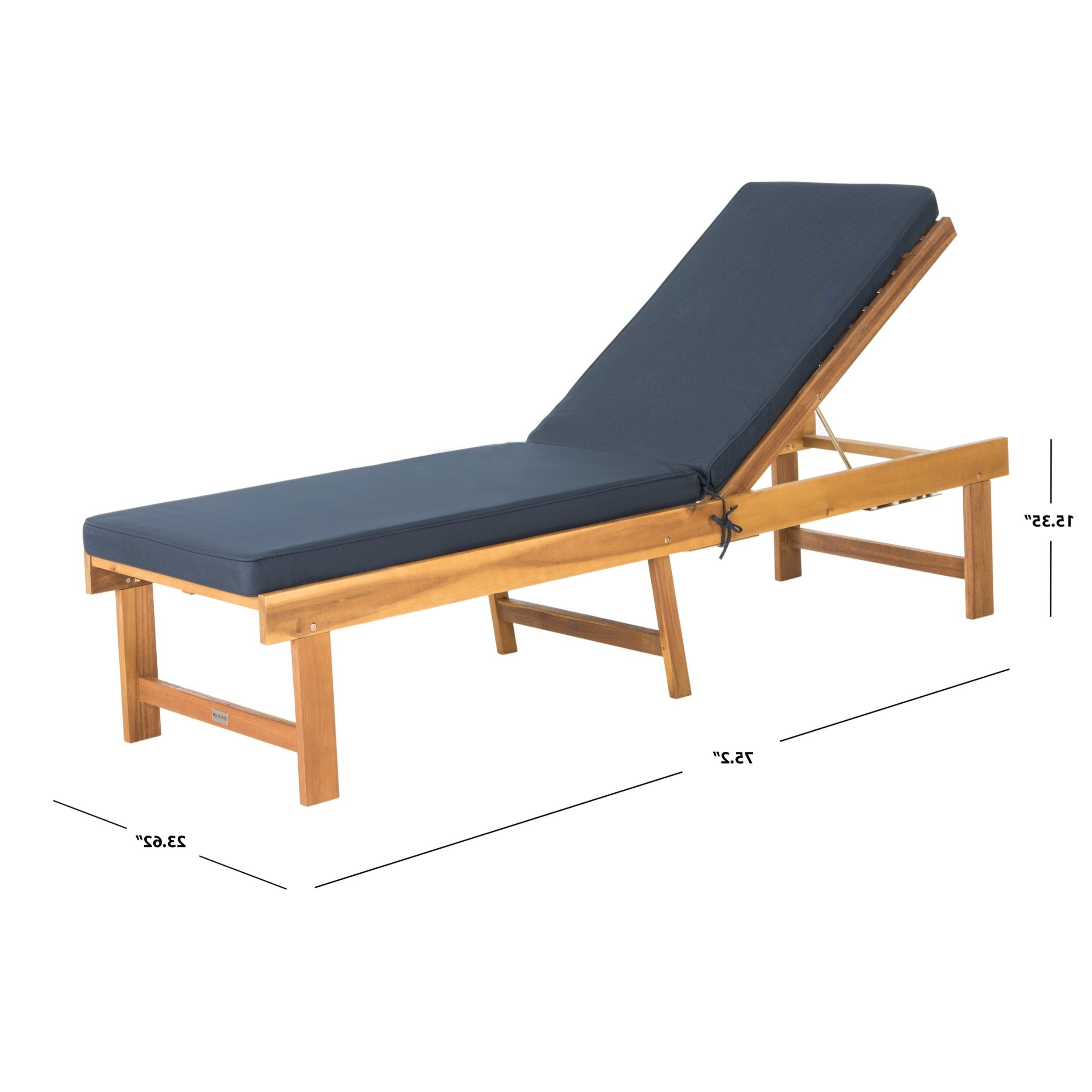"""Outdoor Living Inglewood Brown Acacia Wood Beige Cushion Lounge Chairs With Regard To Current Safavieh Outdoor Living Inglewood Brown/ Navy Chaise Lounge Chair – 23.6"""" X 75.2"""" X 15.4"""" (Gallery 18 of 25)"""