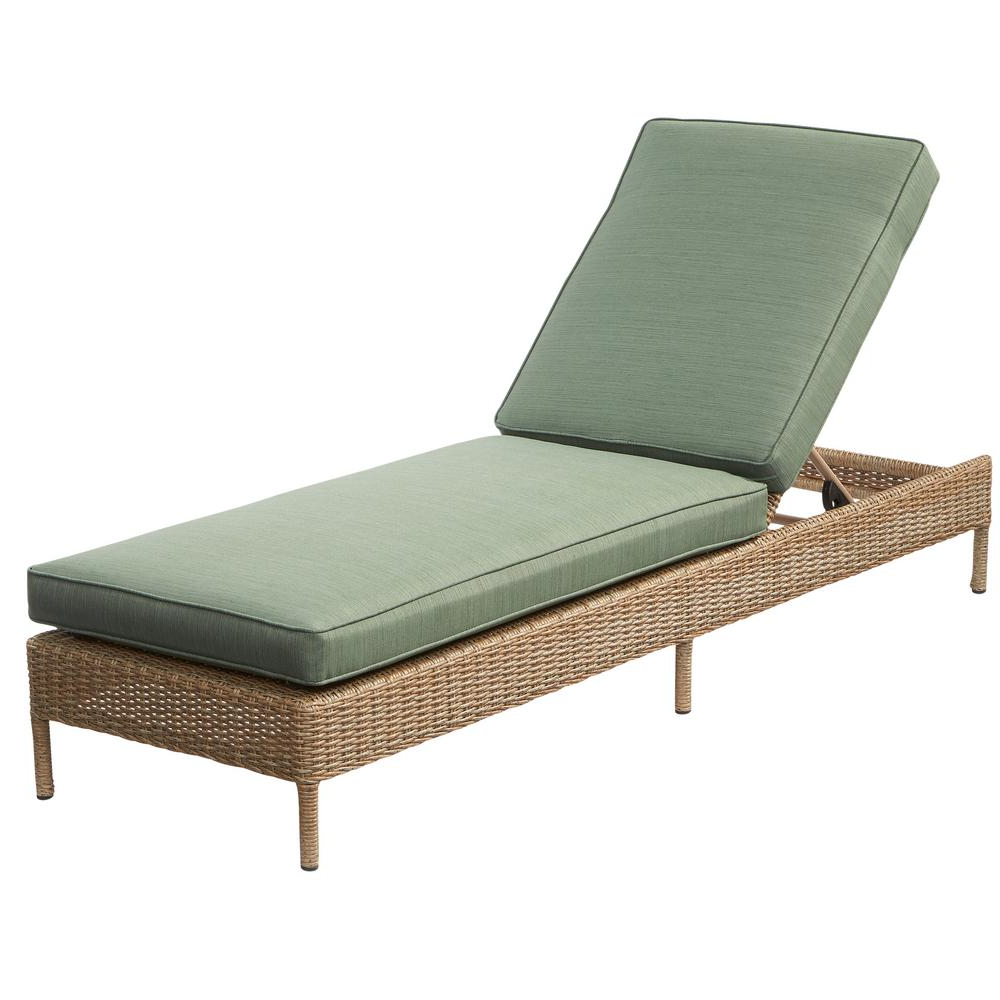 Outdoor Living Inglewood Chaise Lounge Chairs Pertaining To Trendy Hampton Bay Lemon Grove Wicker Outdoor Chaise Lounge With (View 11 of 25)