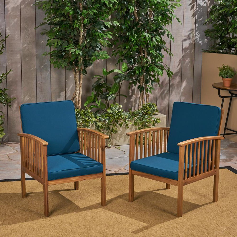 Outdoor Living Manteca Ash Grey Acacia Wood Lounge Chairs Inside Well Liked Noble House Casa Acacia Brown Patina Wood Outdoor Lounge Chairs With Dark  Teal Cushions (2 Pack) (View 13 of 25)