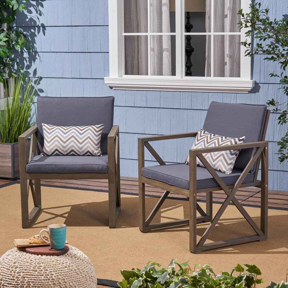 Outdoor Living Manteca Ash Grey Acacia Wood Lounge Chairs Throughout Current Noble House Lisa Gray Stationary Wood Outdoor Lounge Chair With Dark Gray  Cushions (2 Pack) (View 15 of 25)