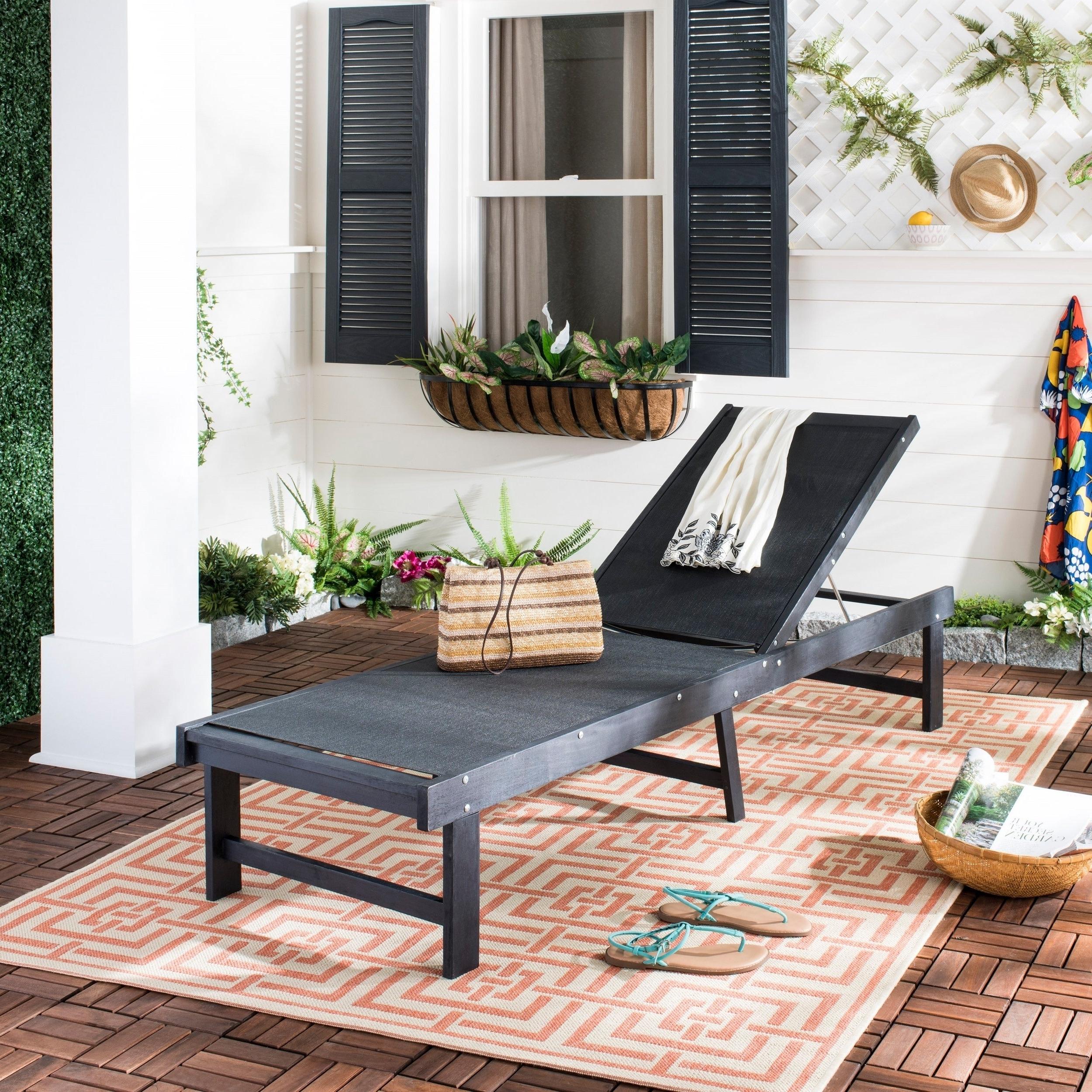 "Outdoor Living Manteca Dark Slate Lounge Chairs Intended For 2020 Safavieh Outdoor Living Manteca Dark Slate Grey/ Black Lounge Chair – 23.6""  X  (View 14 of 25)"