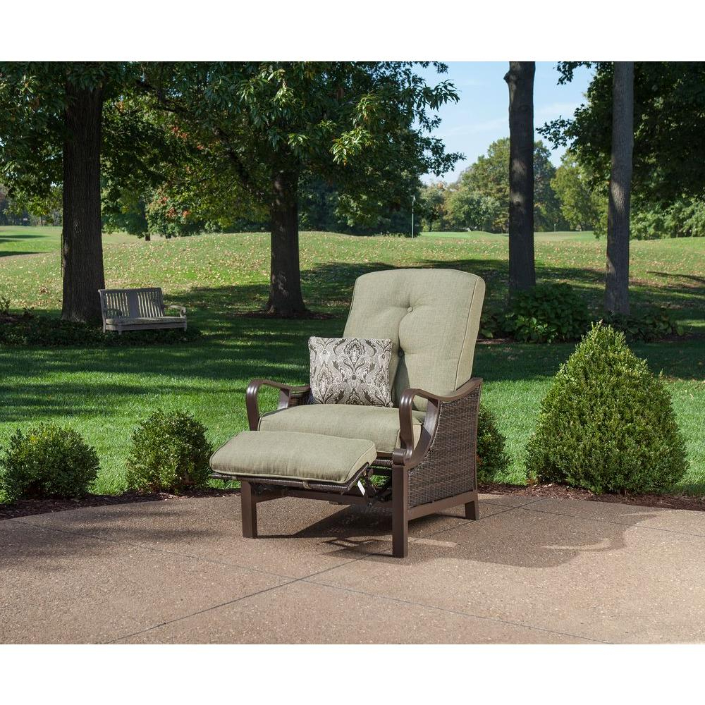 Outdoor Living Manteca Dark Slate Lounge Chairs Regarding 2020 Ventura Reclining Wicker Outdoor Lounge Chair With Vintage Meadow Cushion (View 17 of 25)