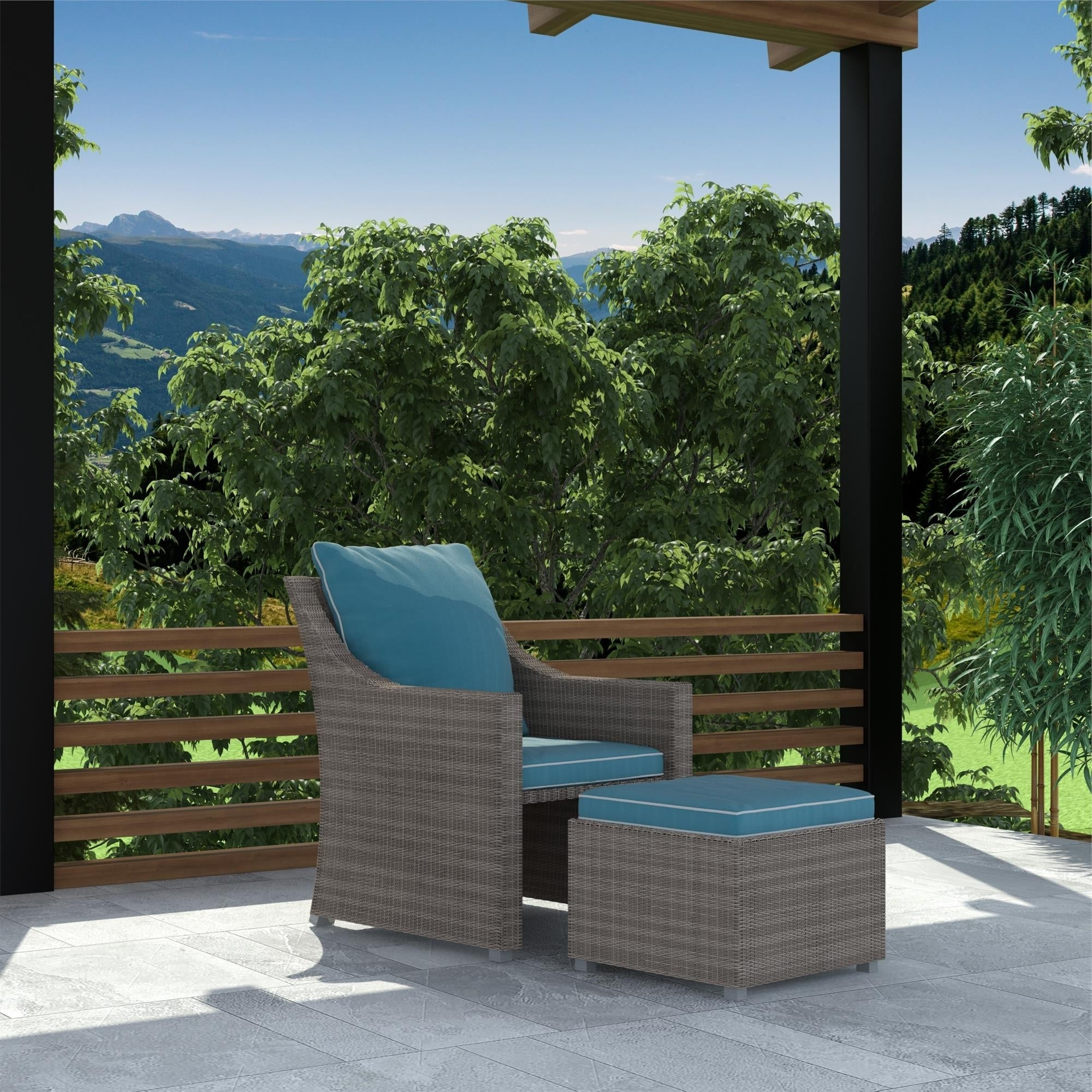 Outdoor Patio Lounge Chairs With Ottoman In Widely Used Cosco Outdoor Bluffs Grey 2 Piece Lounge Chair And Ottoman Patio Set (View 21 of 25)