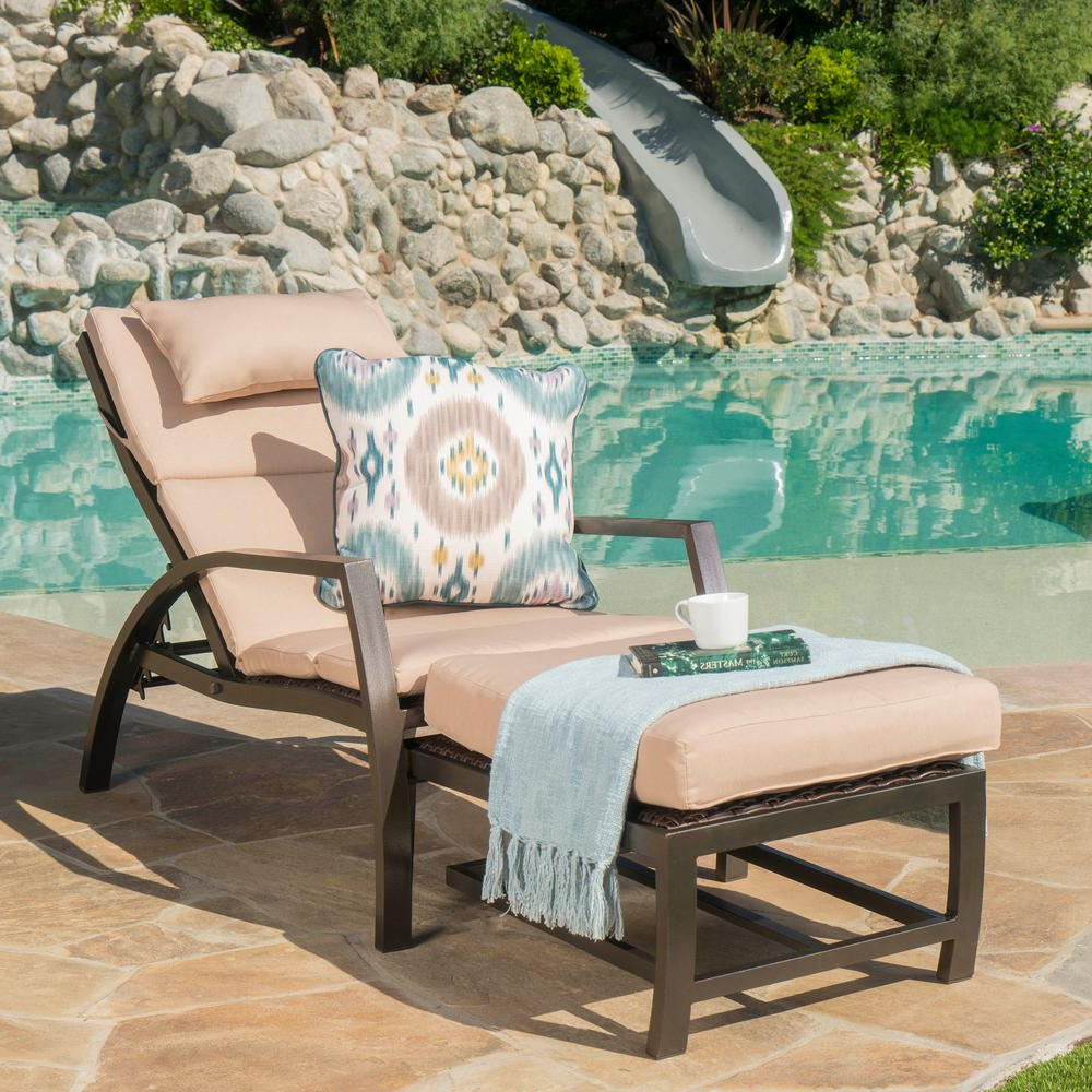 Outdoor Patio Lounge Chairs With Ottoman Intended For Well Known Noble House Dark Brown Wicker And Aluminum Outdoor Chaise Lounge And Ottoman Set With Tan Cushion (View 5 of 25)