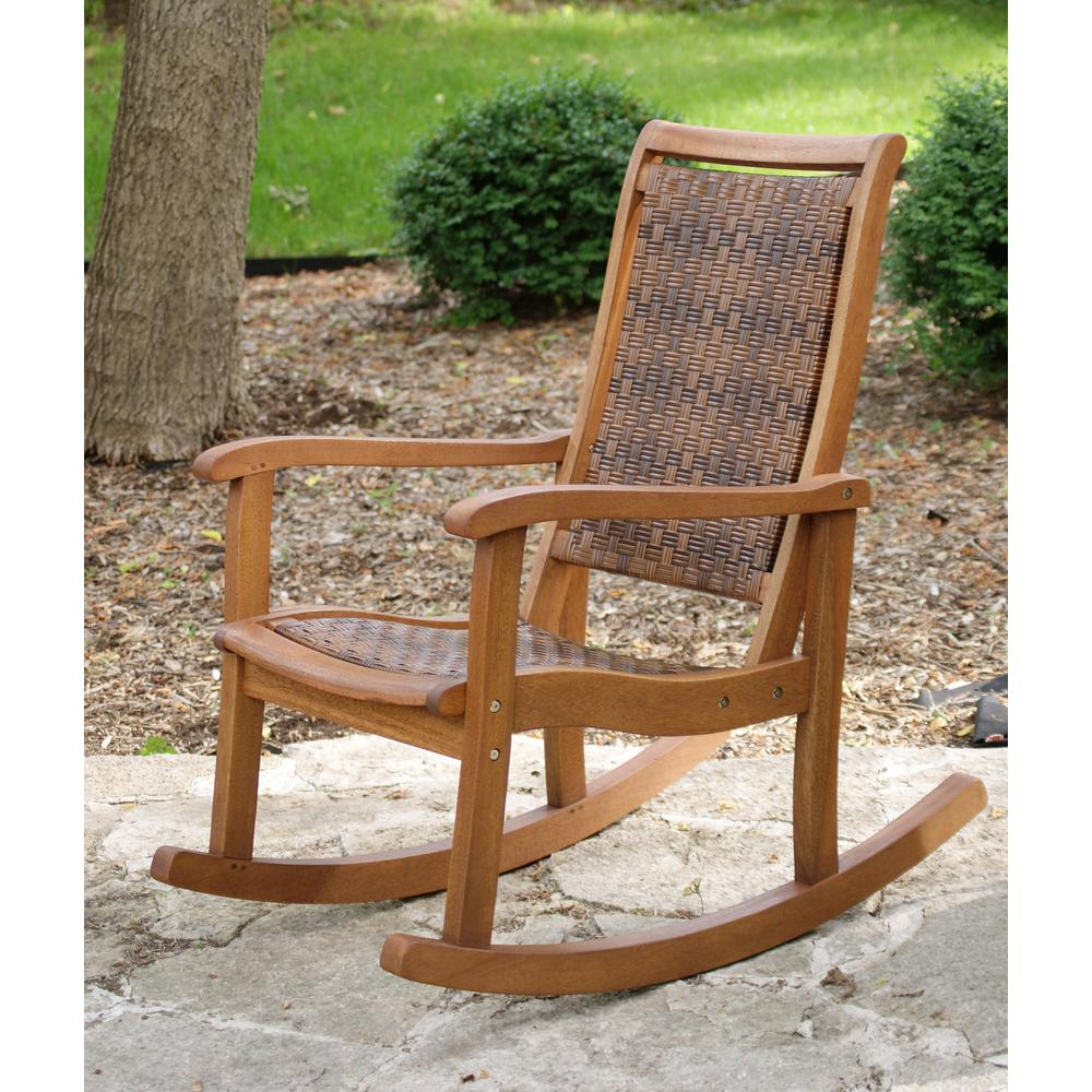 Outdoor Rocking Loungers Regarding 2019 Outdoor Interiors Brown Wicker And Eucalyptus Outdoor Rocking Chair (View 14 of 25)